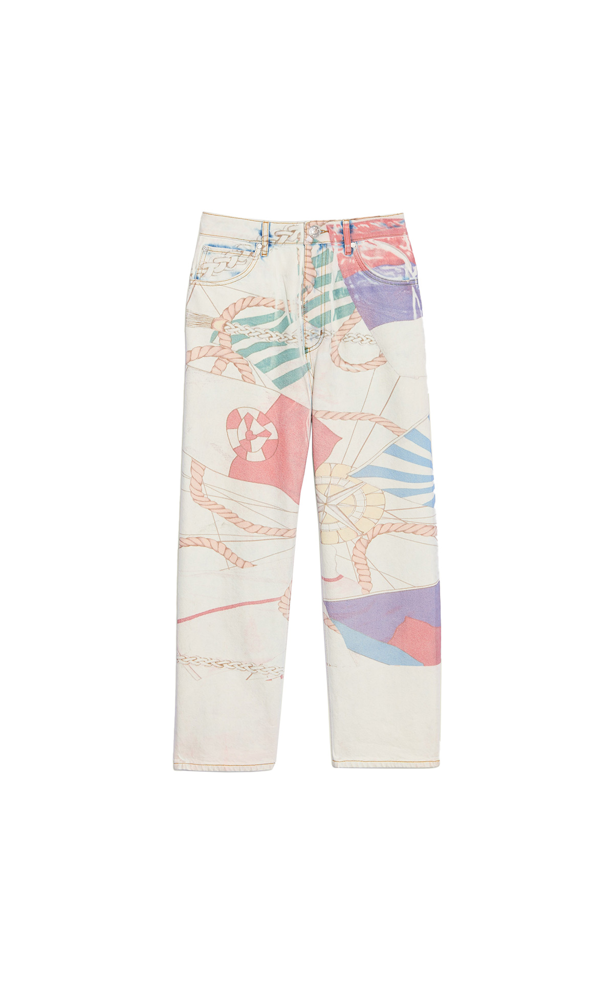 White denim trousers with a print Sandro