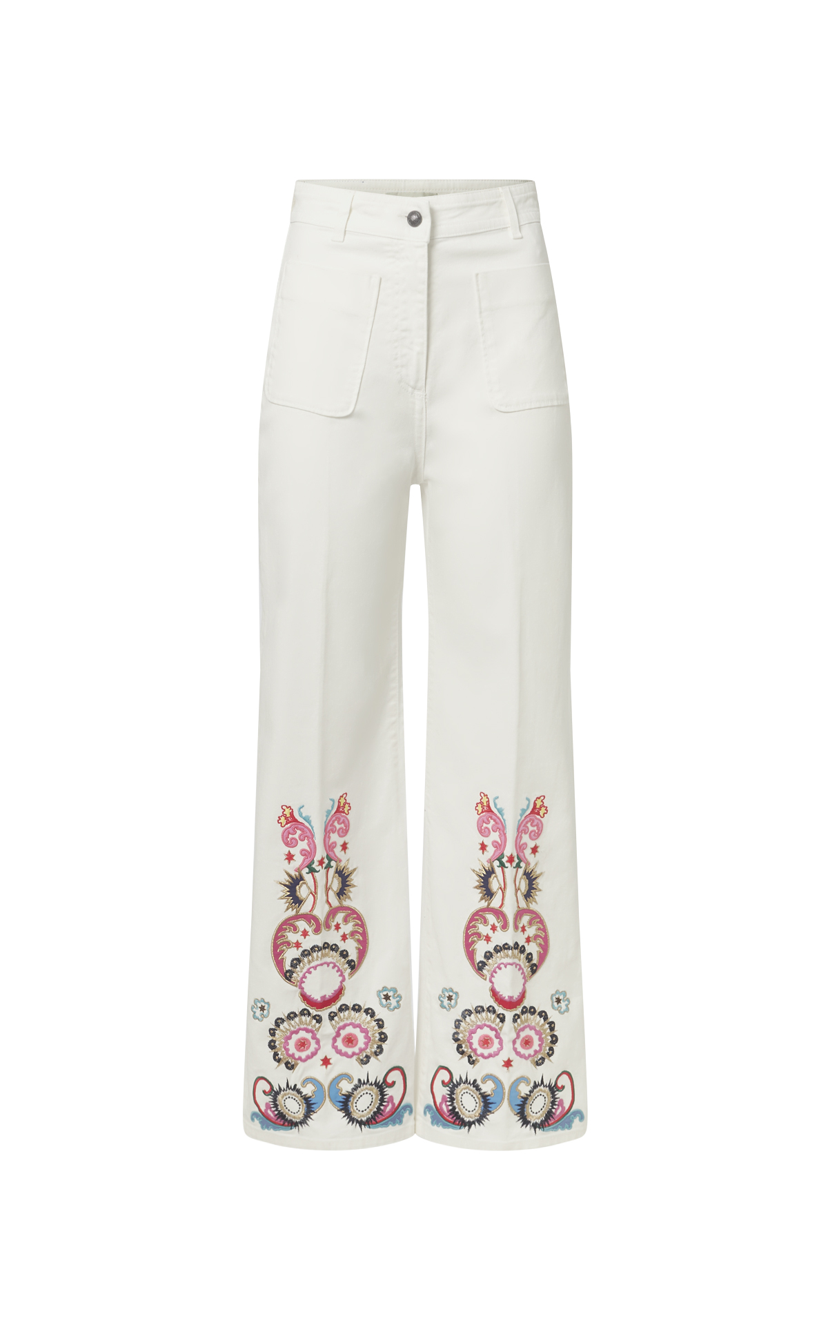 White and printed denim bell-bottom pants for woman Etro