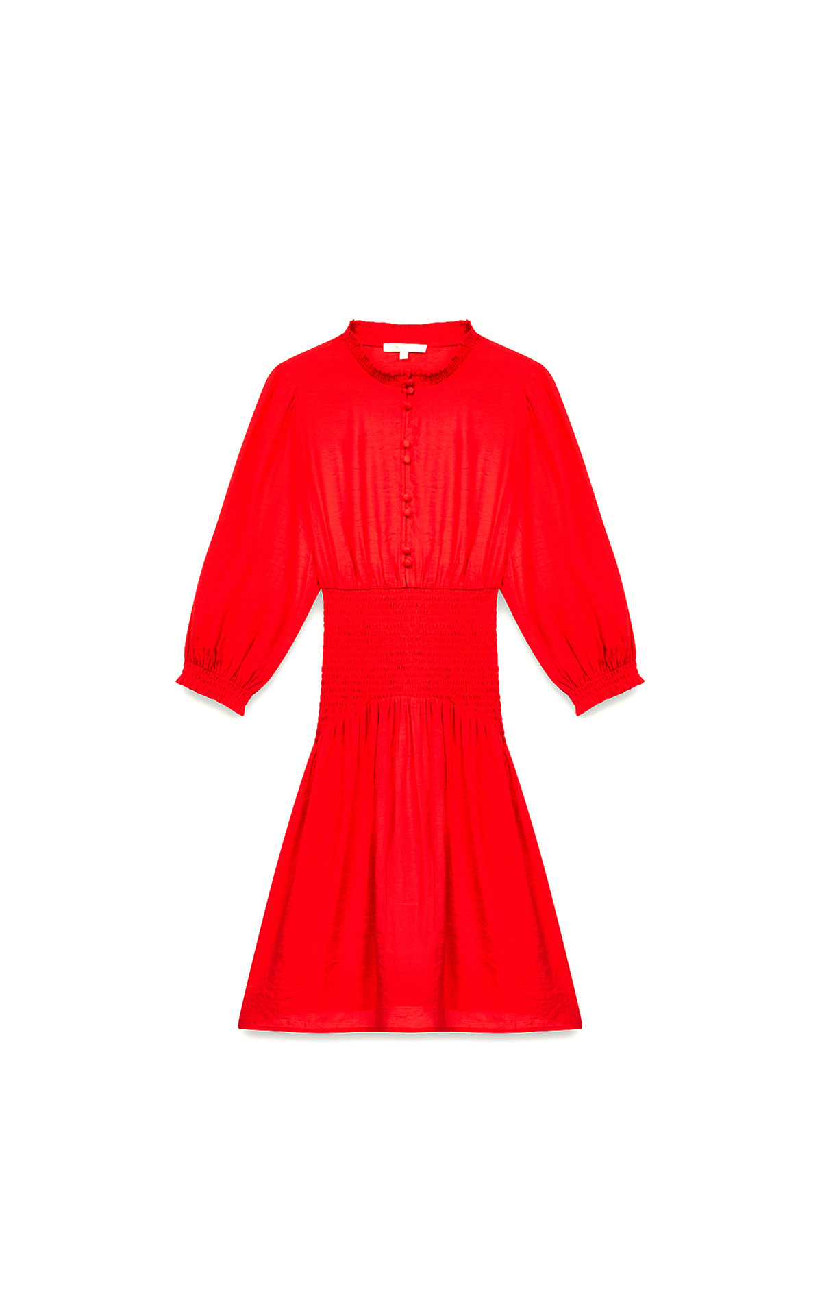 Maje mid length smocked red dress at The Bicester Village Shopping Collection