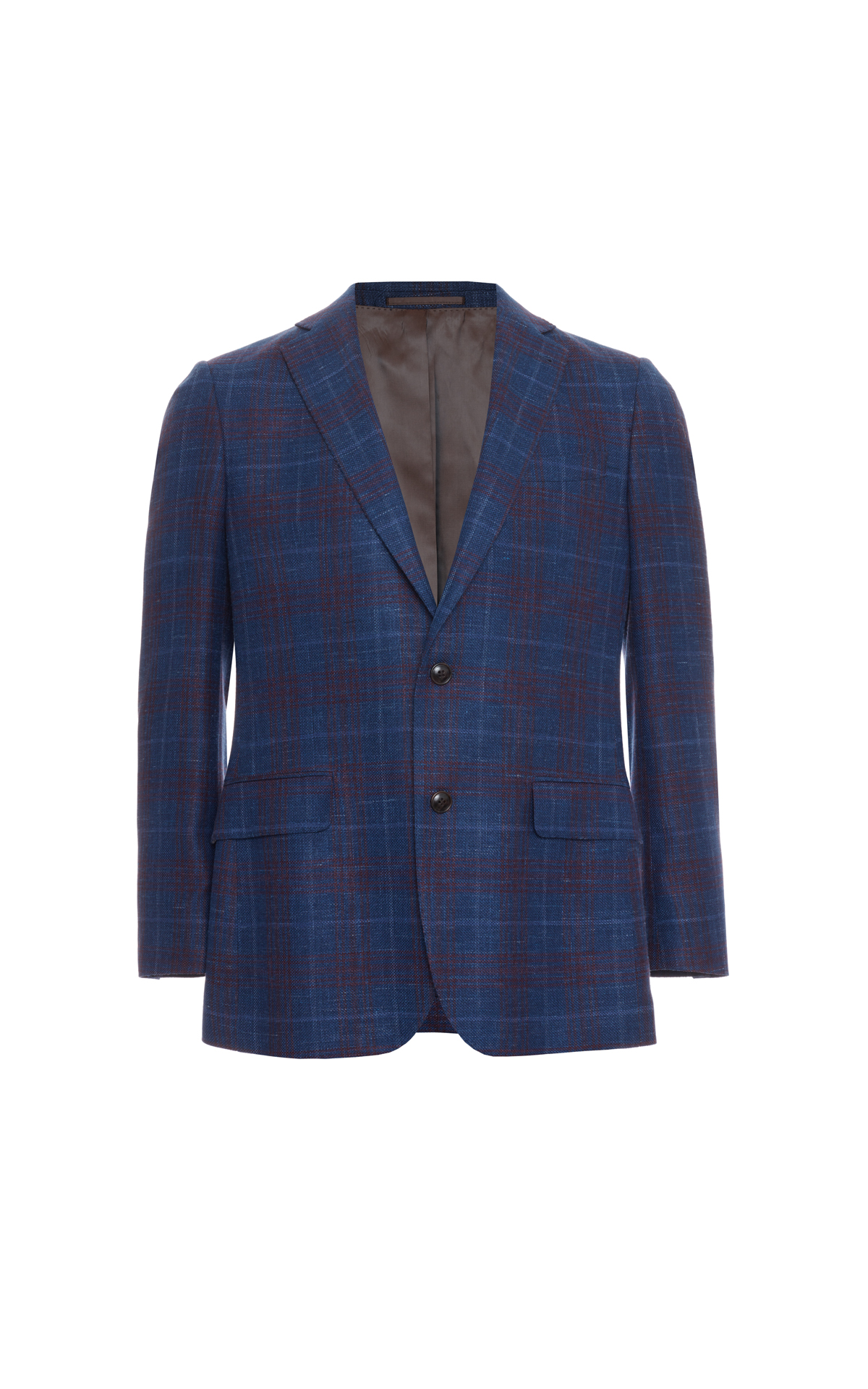 Savoy Taylors Guild Tailored fit navy jacket with red check from Bicester Village