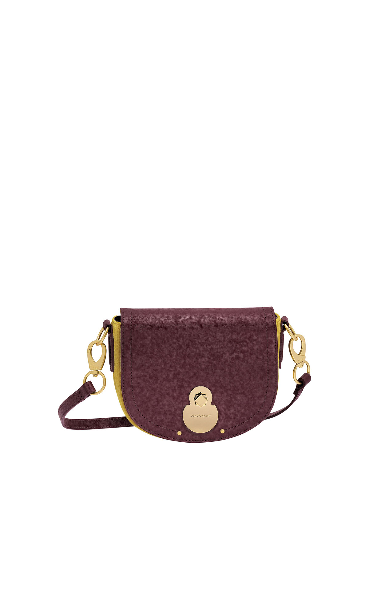 Longchamp Cavalcade small leather and suede crossbody bag in brandy and Neon  from Bicester Village
