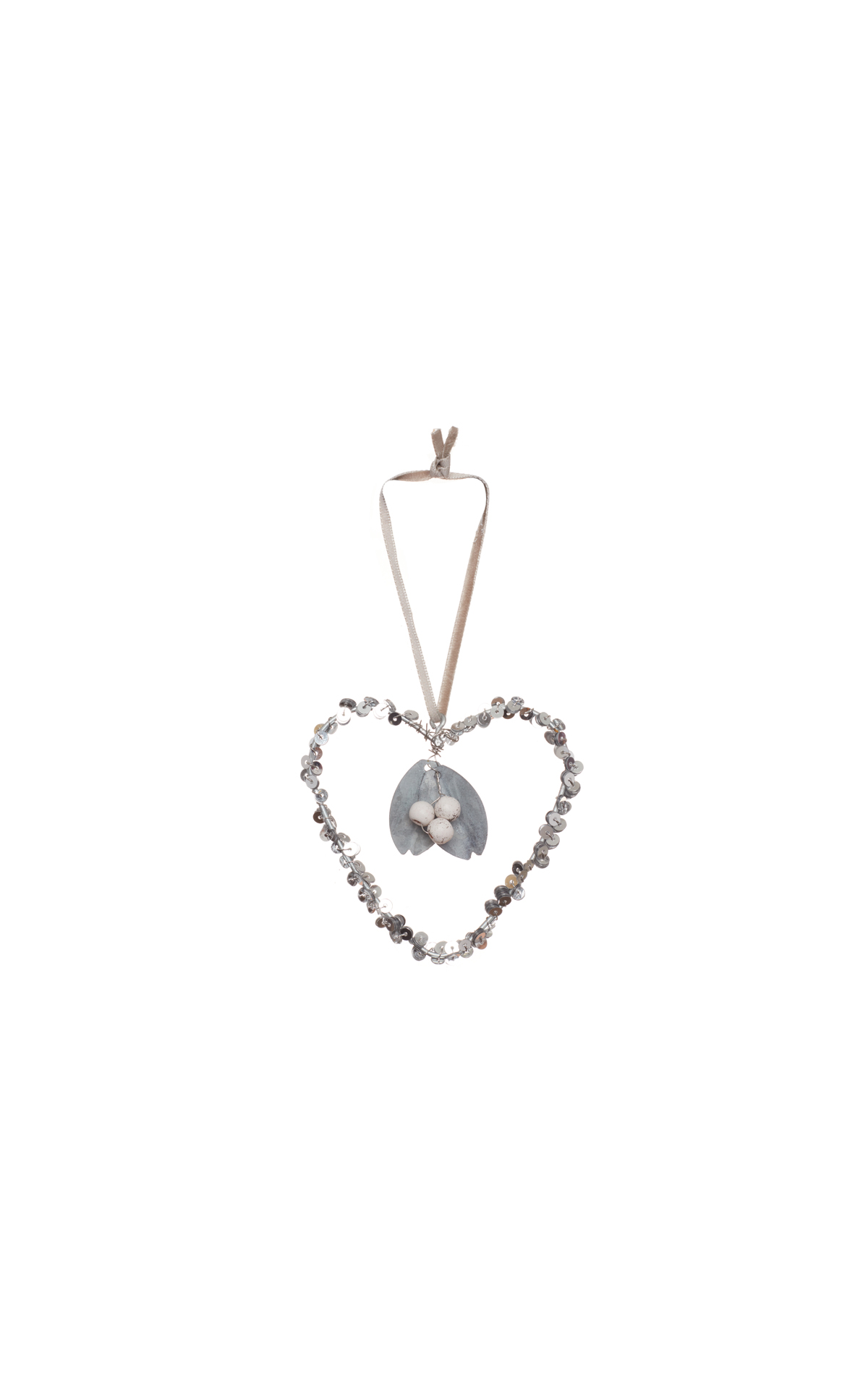 The White Company  Sequin heart with mistletoe charm from Bicester Village