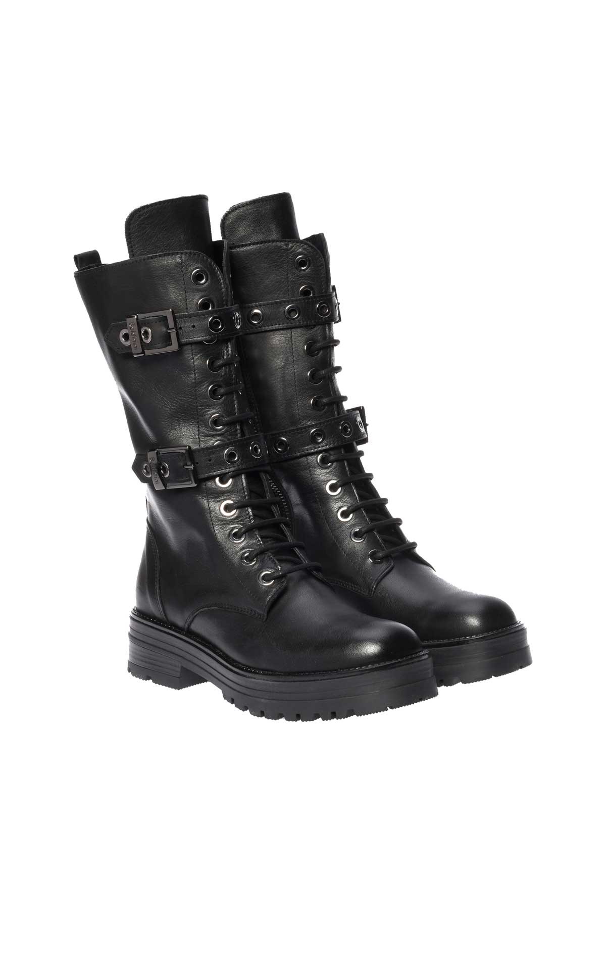 Black leather biker boot Baldinini