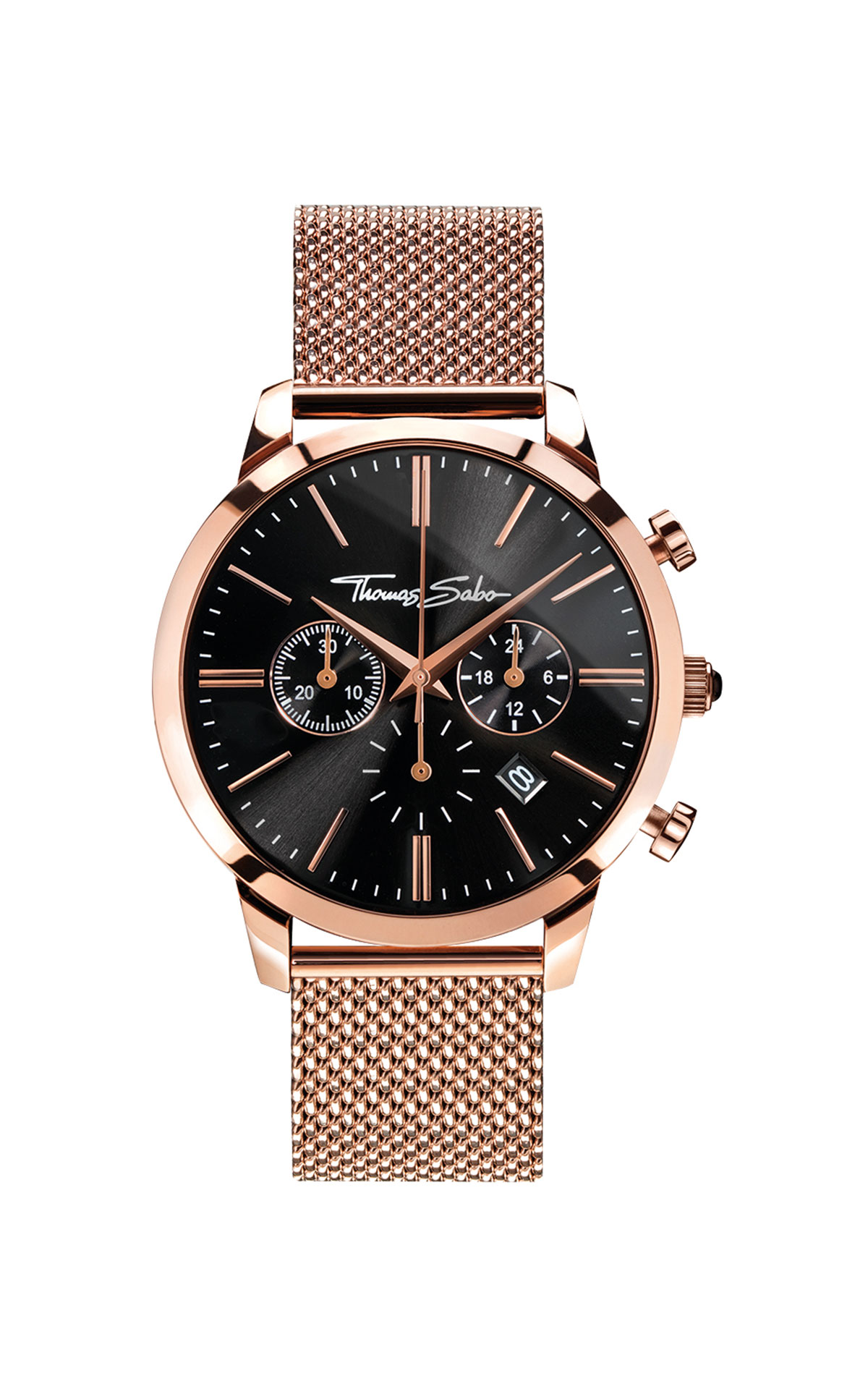 Rose gold watch with black dial Thomas Sabo