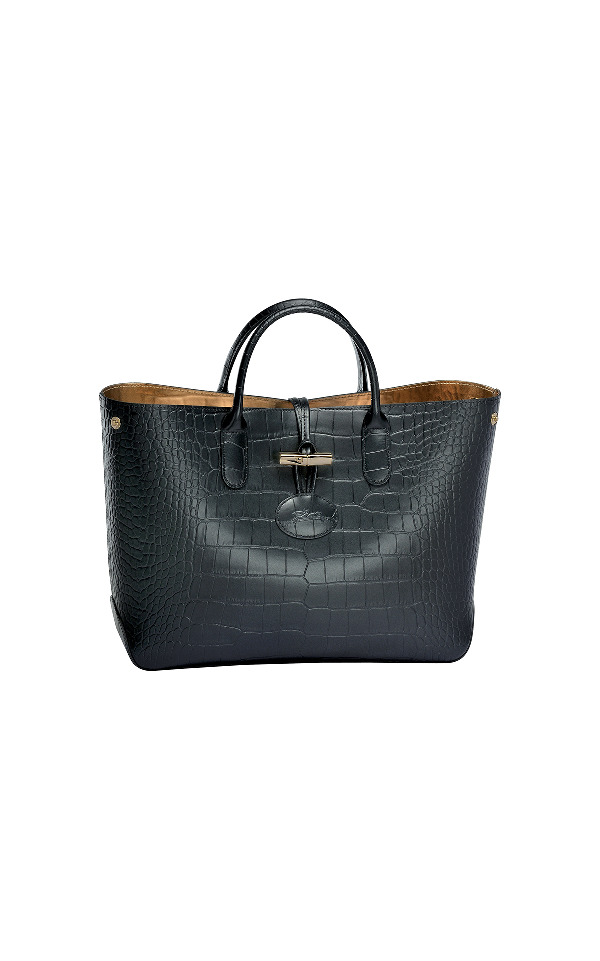 Longchamp Roseau croco black leather tote from Bicester Village