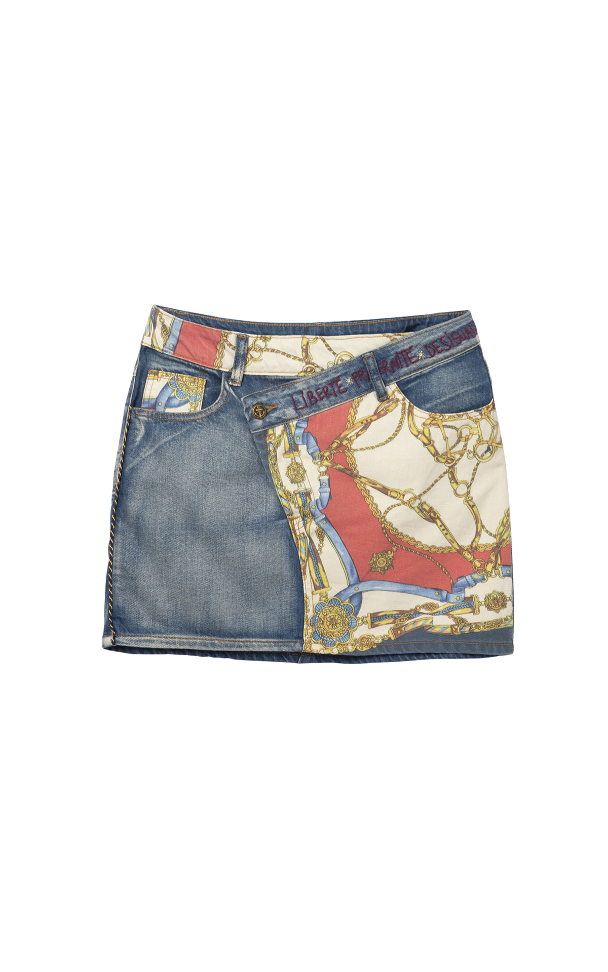 Short denim printed woman's skirt Desigual