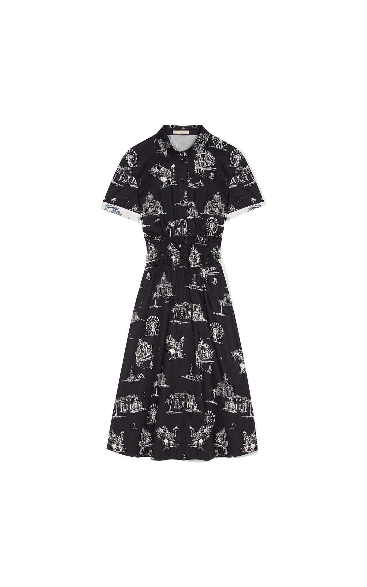 Midi black Paris-print dress for woman Maje