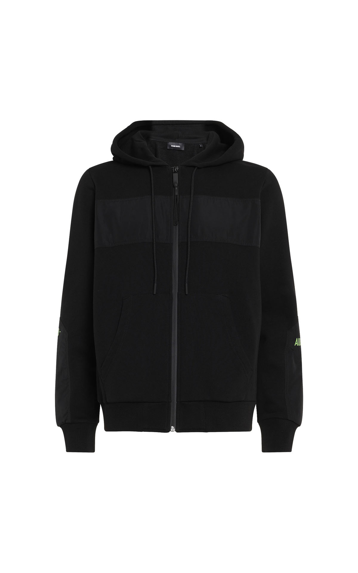 Diesel panelled zip-up hoodie with fluo print at The Bicester Village Shopping Collection