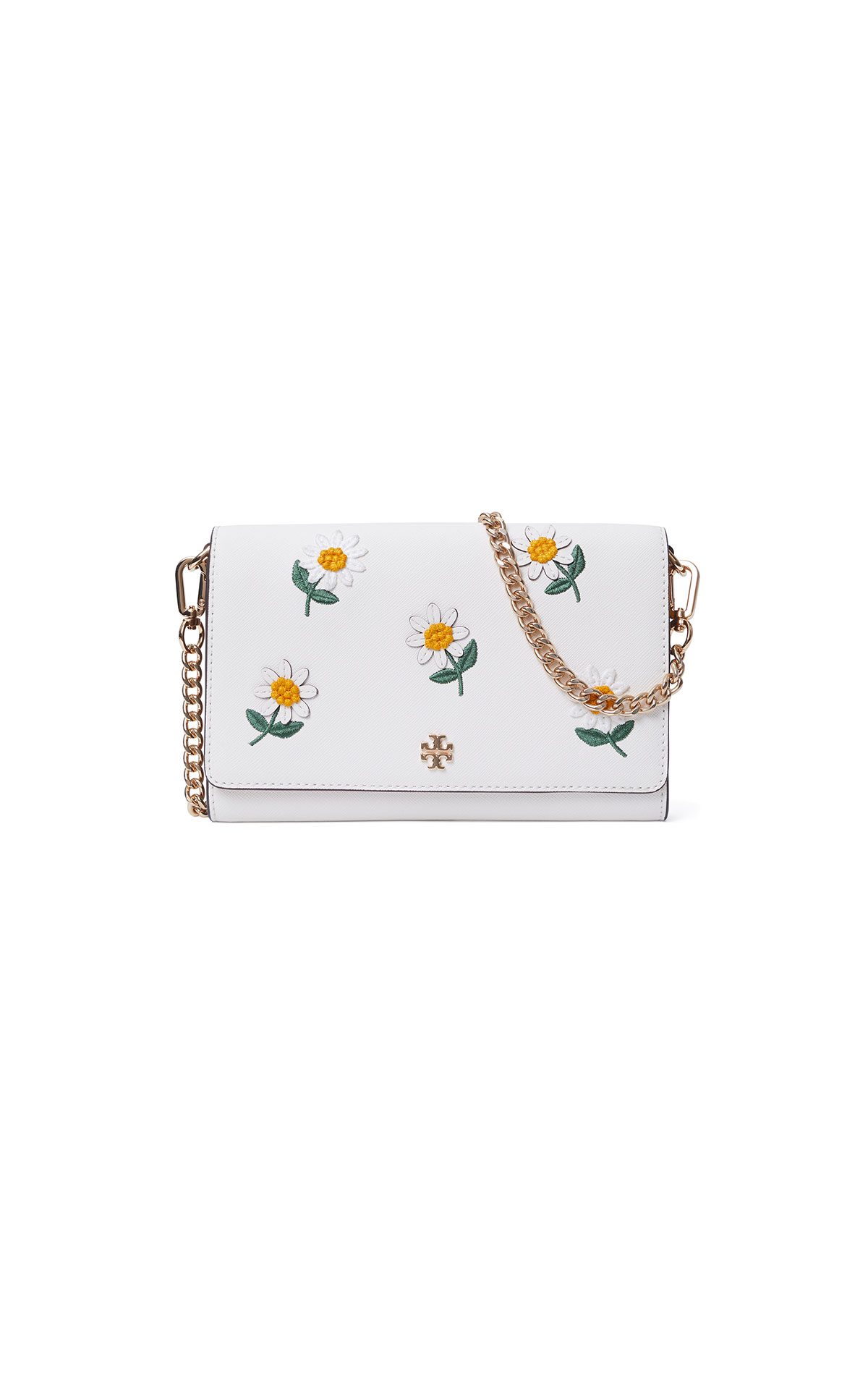 Tory Burch Emerson Daisy Applique Chain Wallet at The Bicester Village Shopping Collection