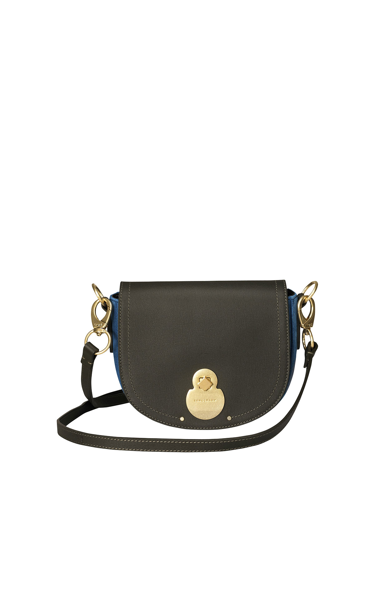 Longchamp Cavalcade small leathera nd suede crossbody bag in khaki and blue from Bicester Village