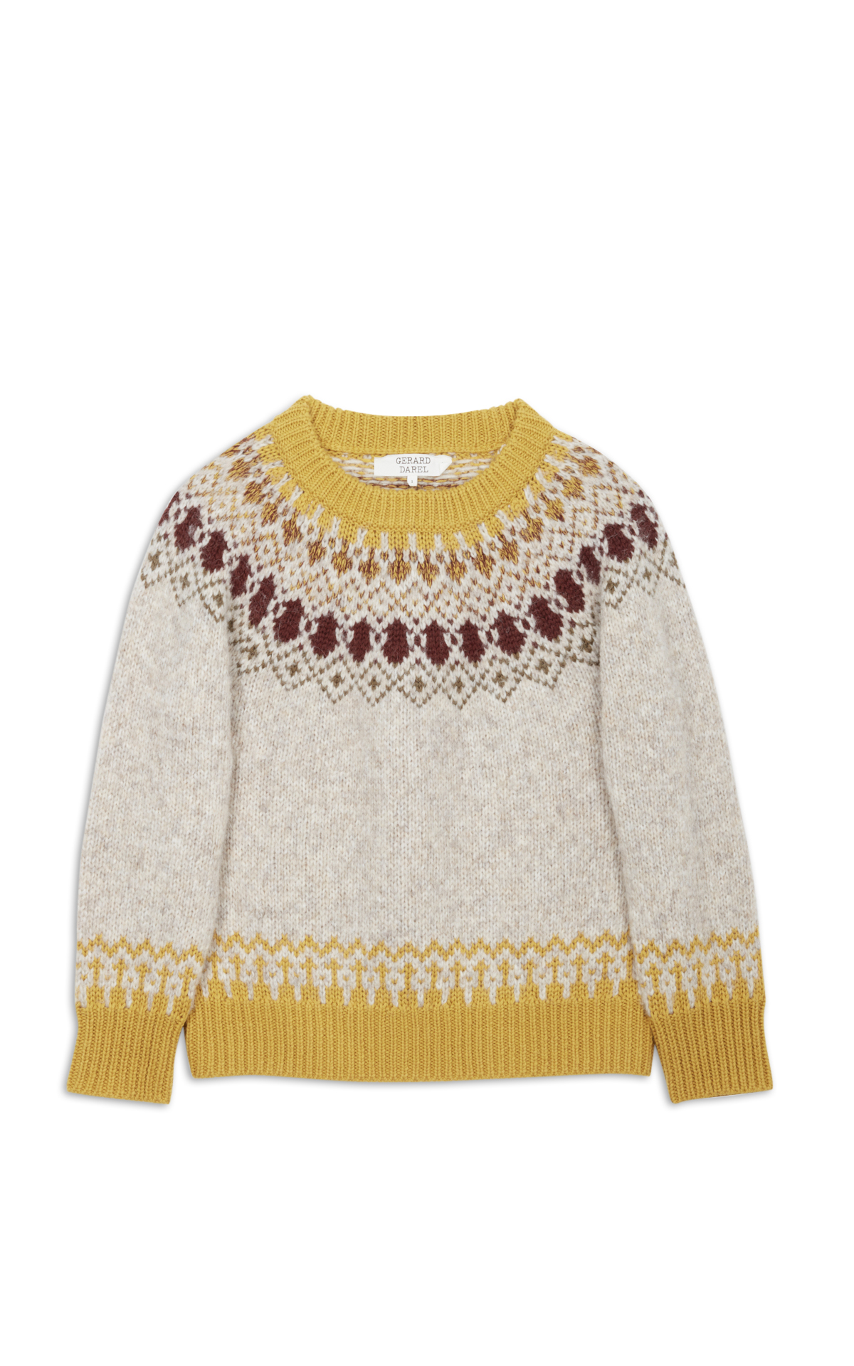 Gerard Darel yellow and grey patterned jumper la vallée village
