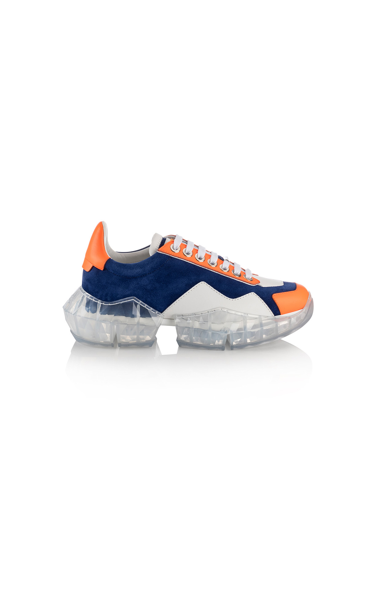 La Vallée Village Jimmy Choo Cobalt and neon orange sneakers