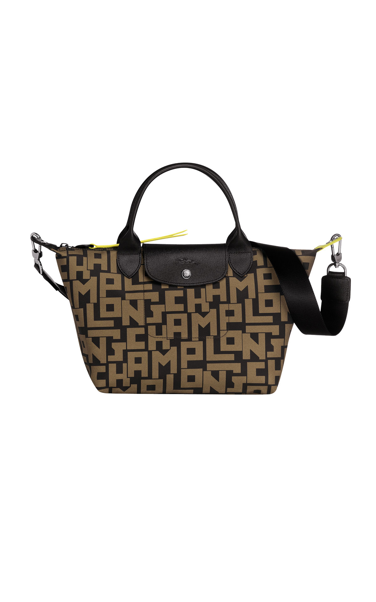Black Pliage bag with khaki logo Longchamp