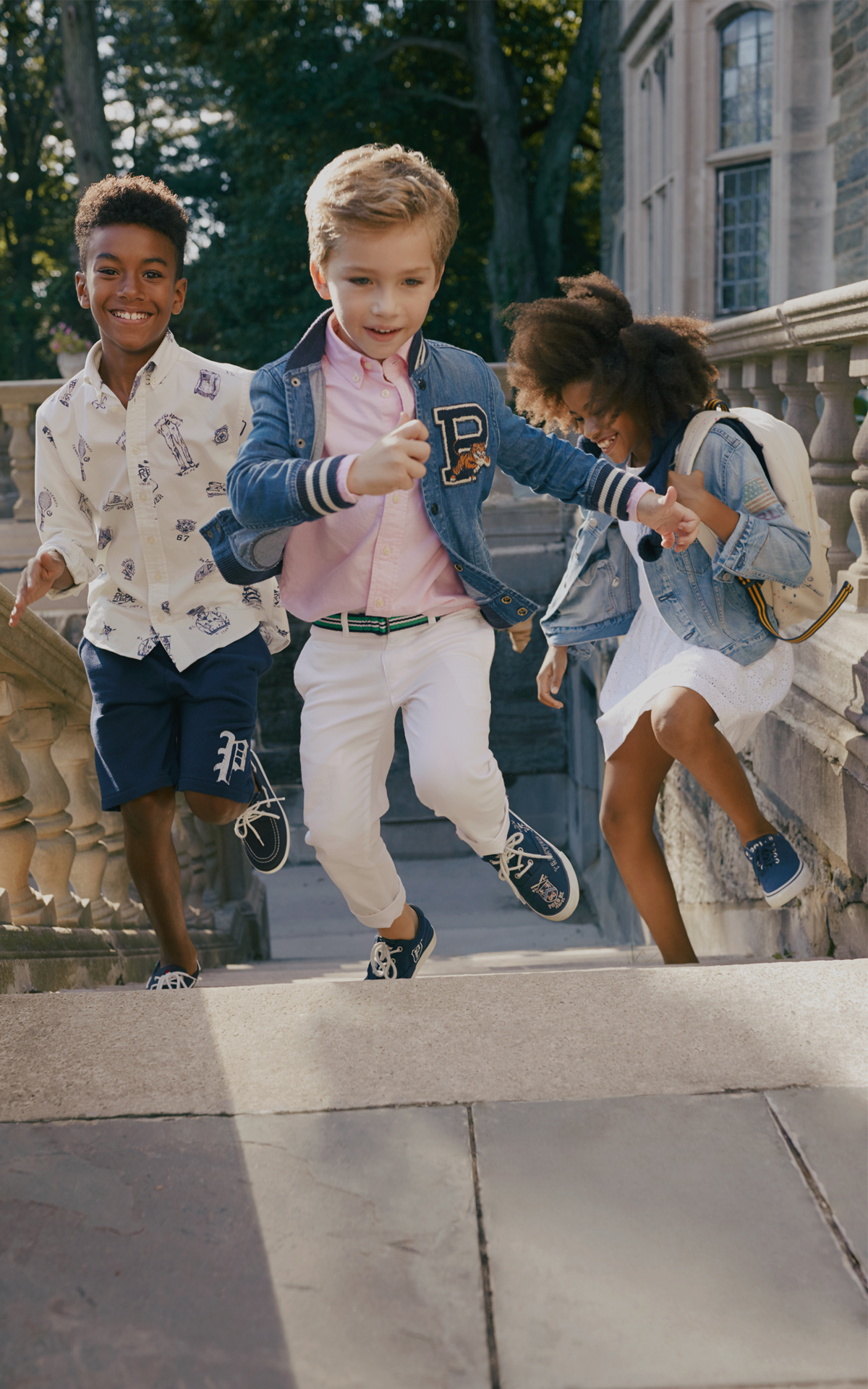 Children running in Polo Ralph Lauren shirts