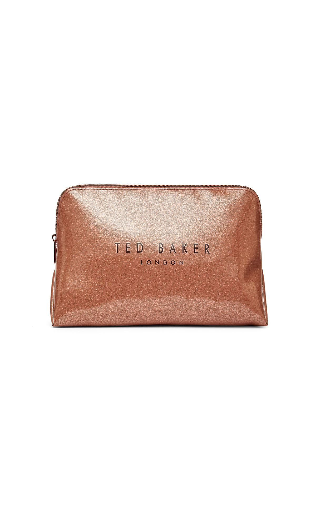 Ted Baker's rose gold glitter washbag at The Bicester Village Shopping Collection