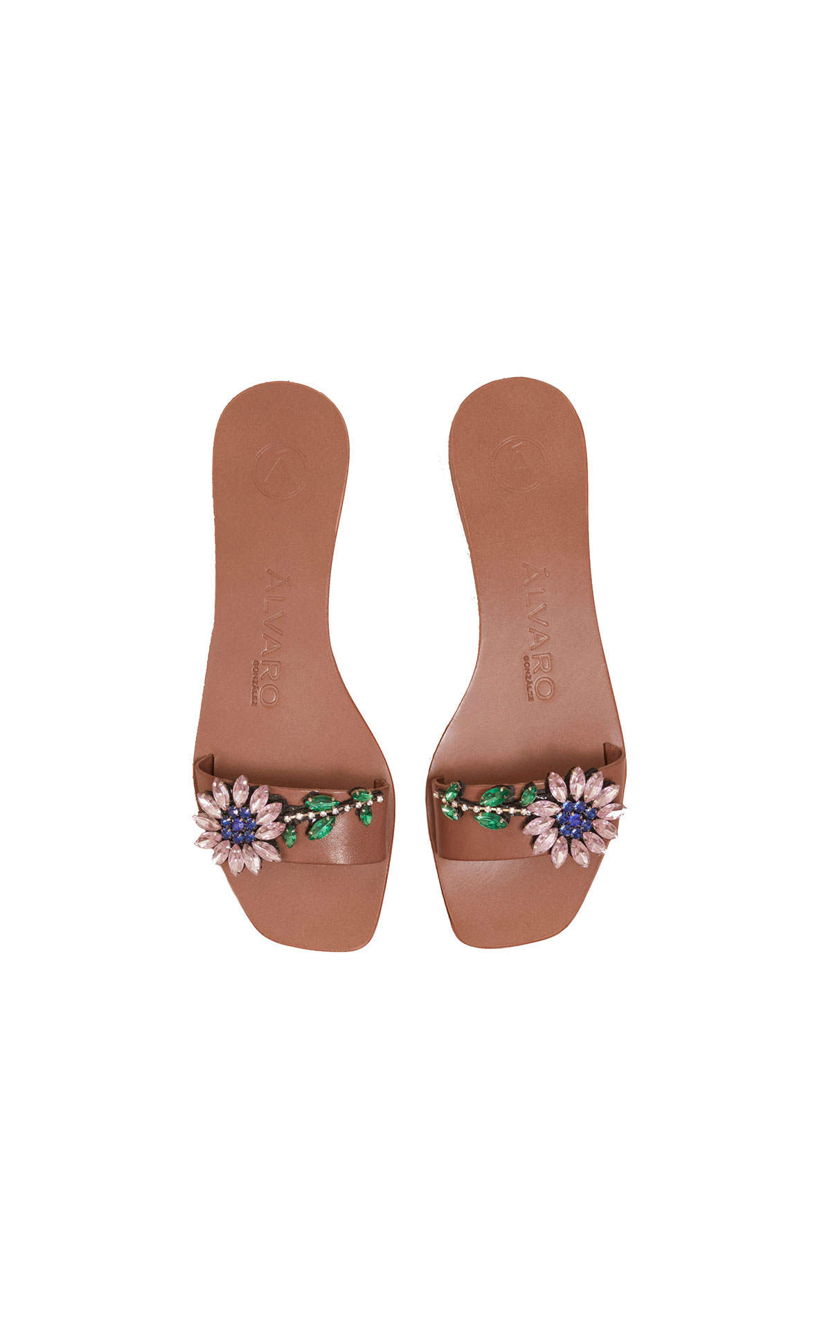 Barefoot Chic Alvaro Abbi flower tobacco slide from Bicester Village