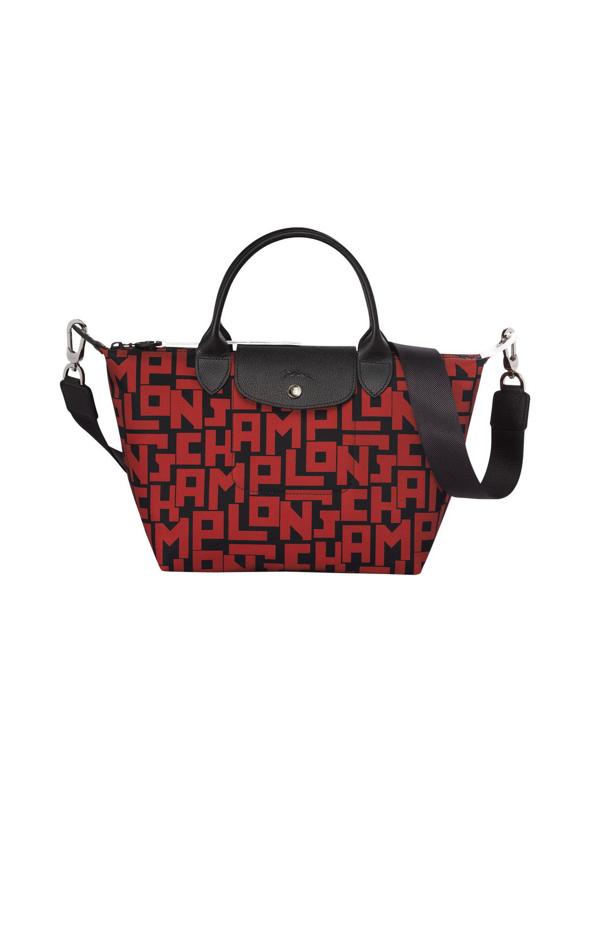 Black bag with red letters Longchamp