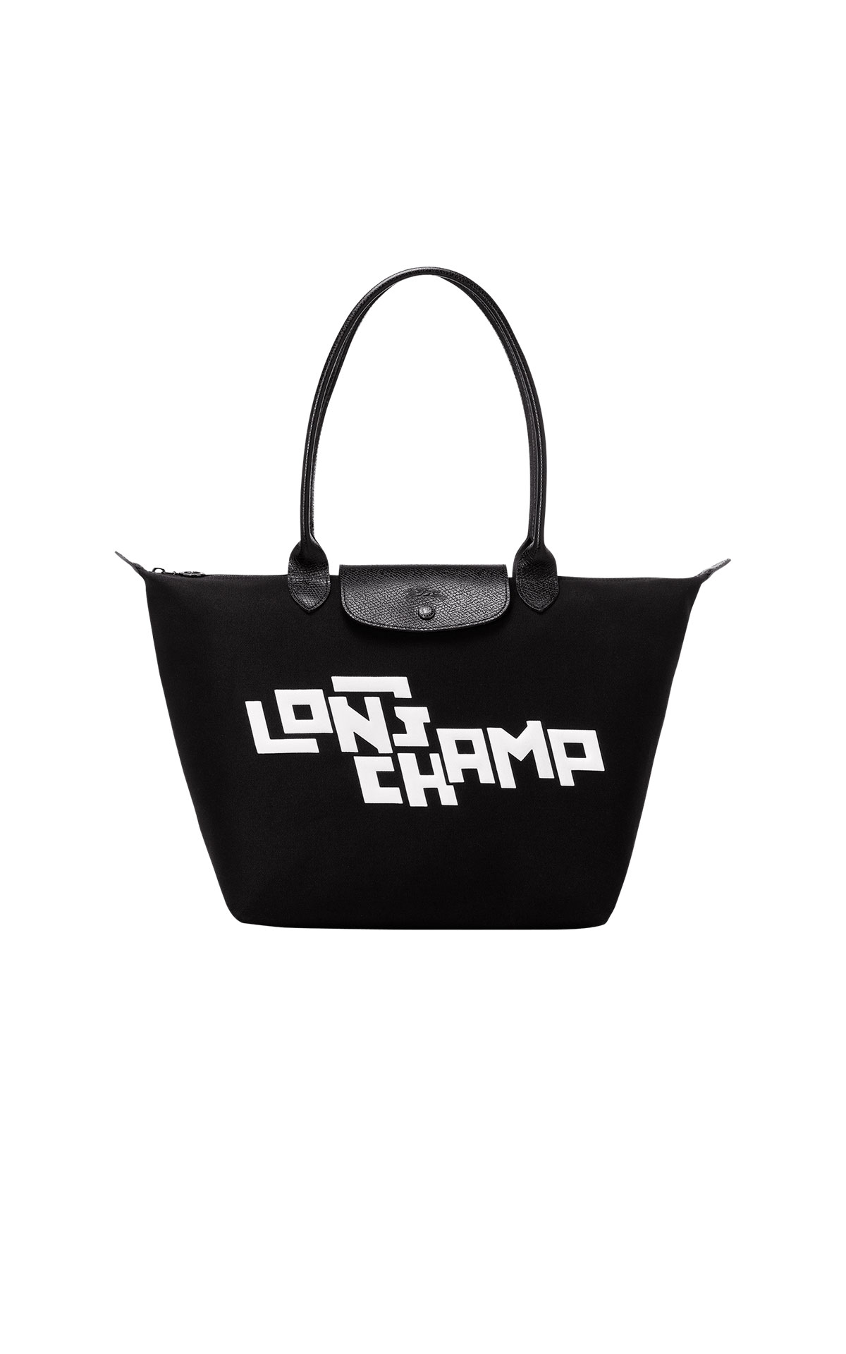 Black Pliage bag with white logo Longchamp