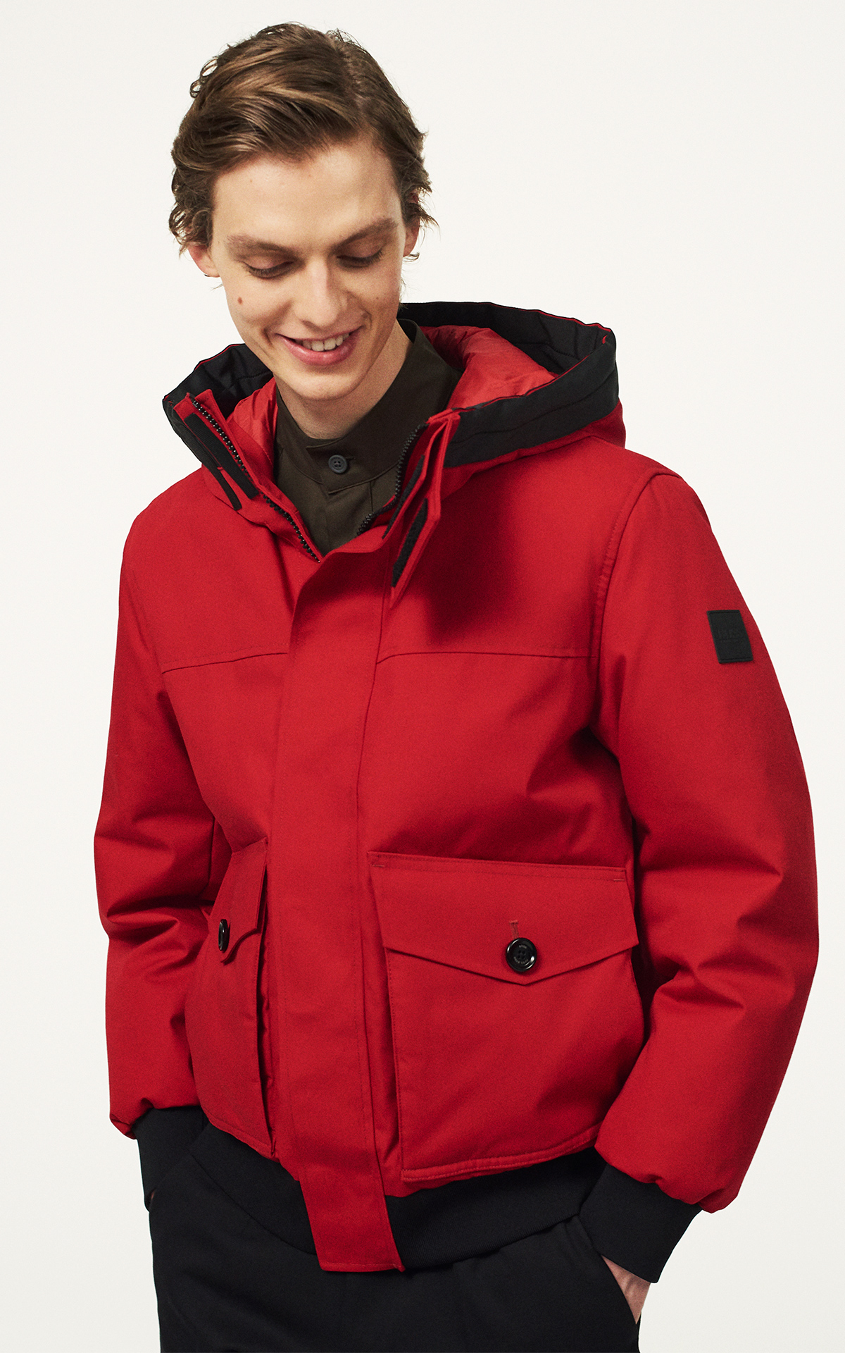 Man with a red jacket