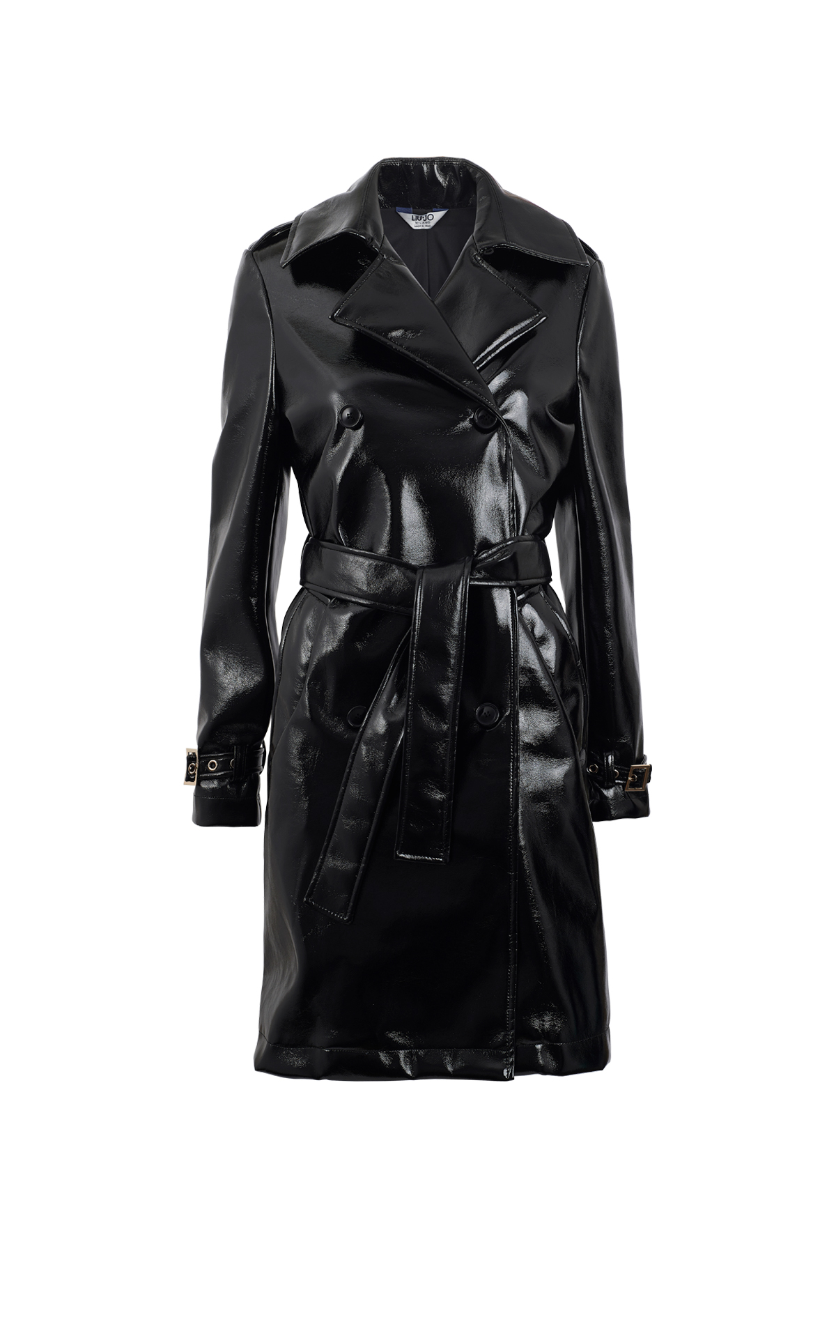 Long black patent leather coat Liu Jo