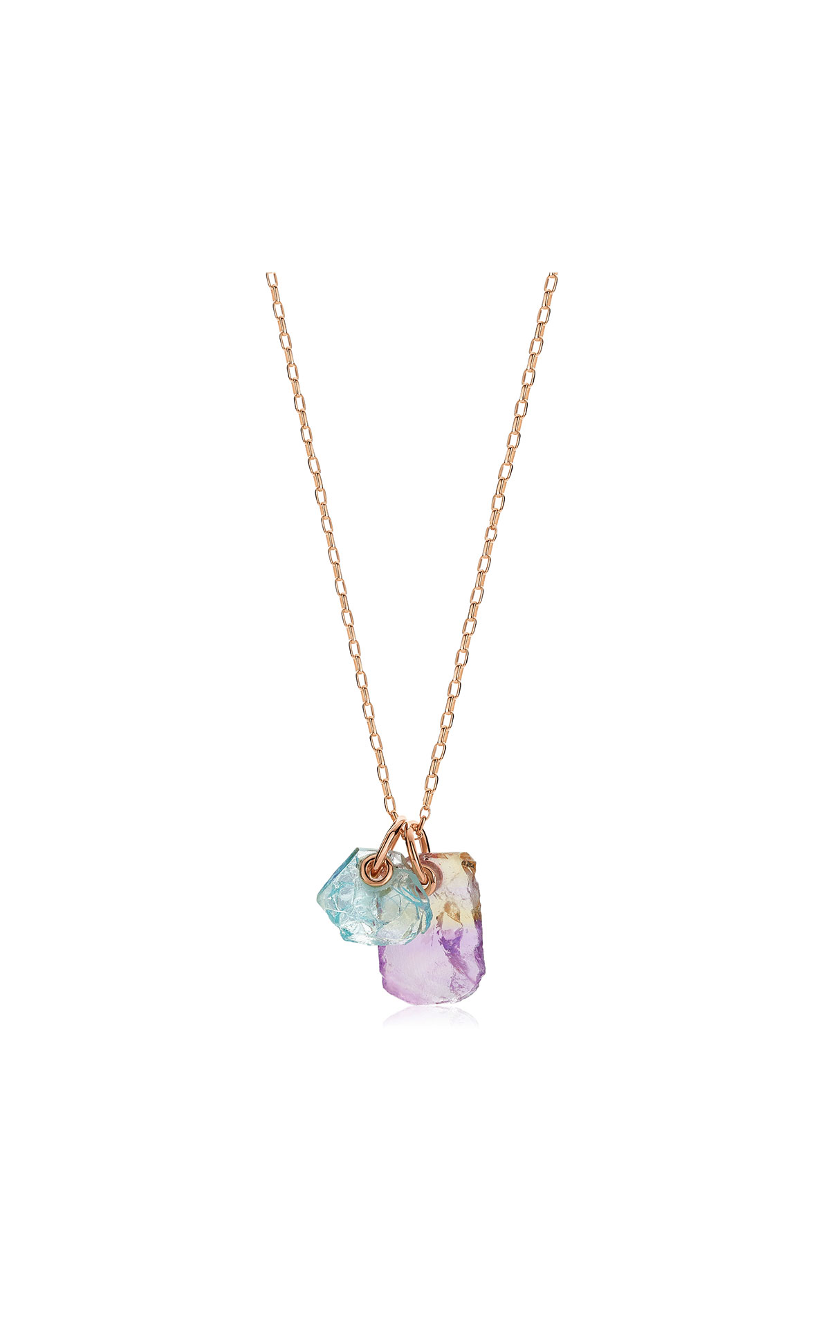 Monica Vinader Rose gold vermeil gemstone double pendant adjustable necklace from Bicester Village