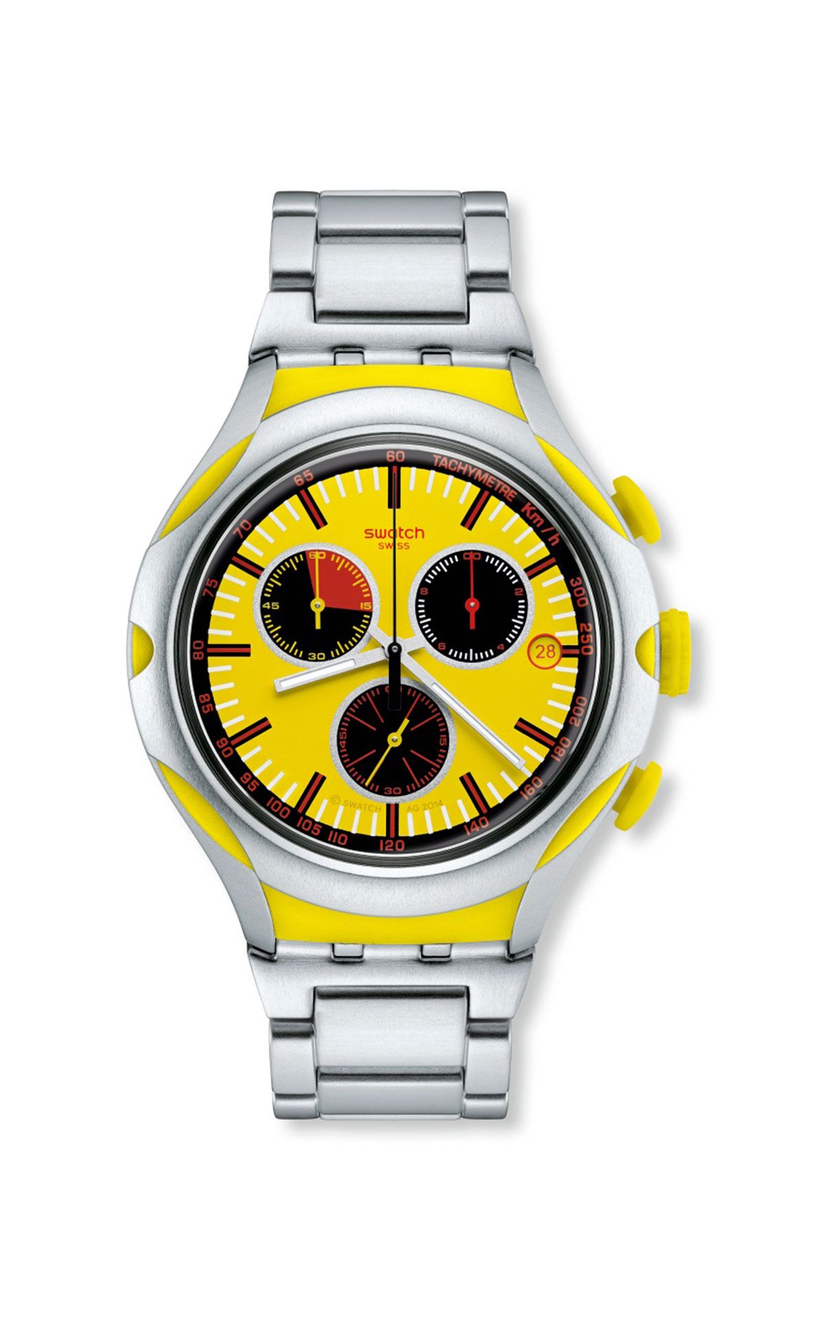 Silver watch with yellow dial Swatch