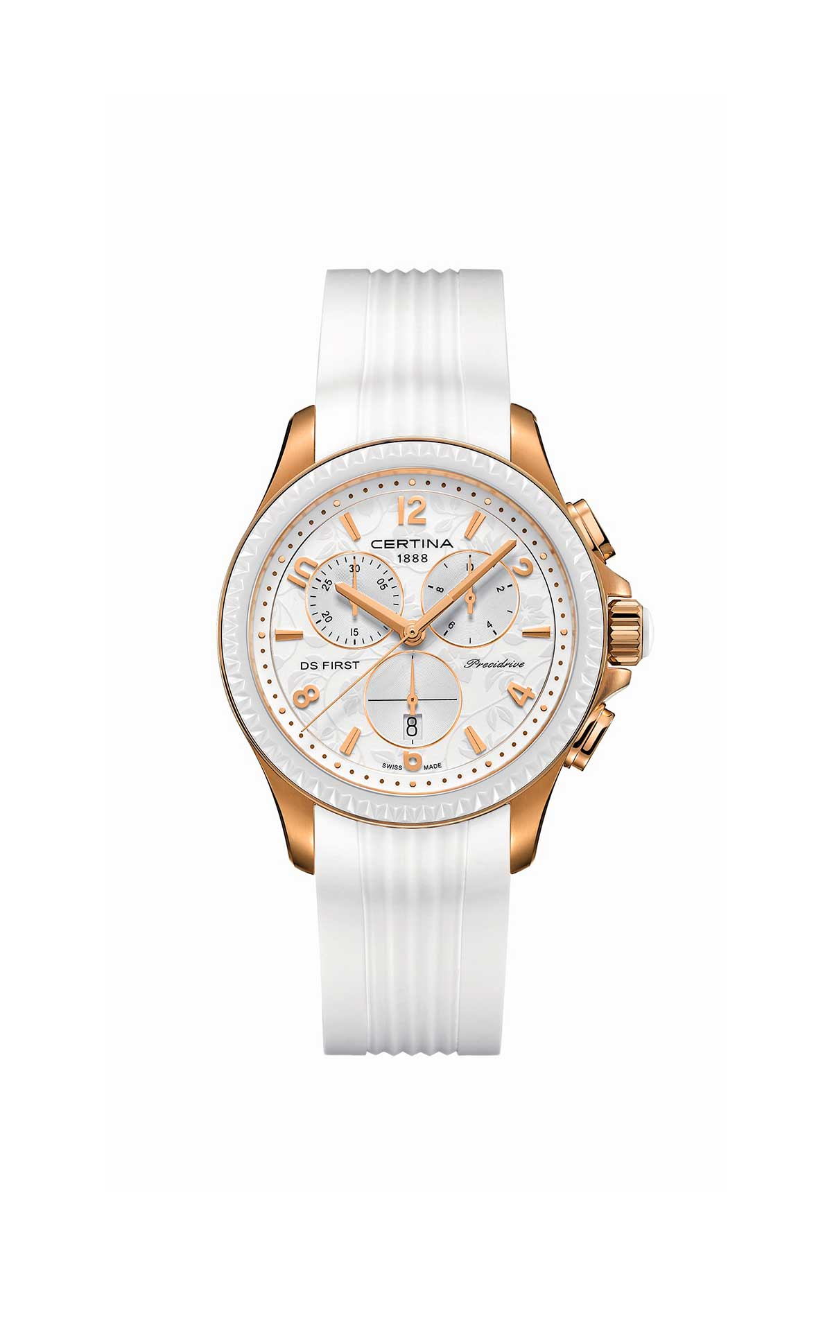 White and gold Certina watch Hour Passion