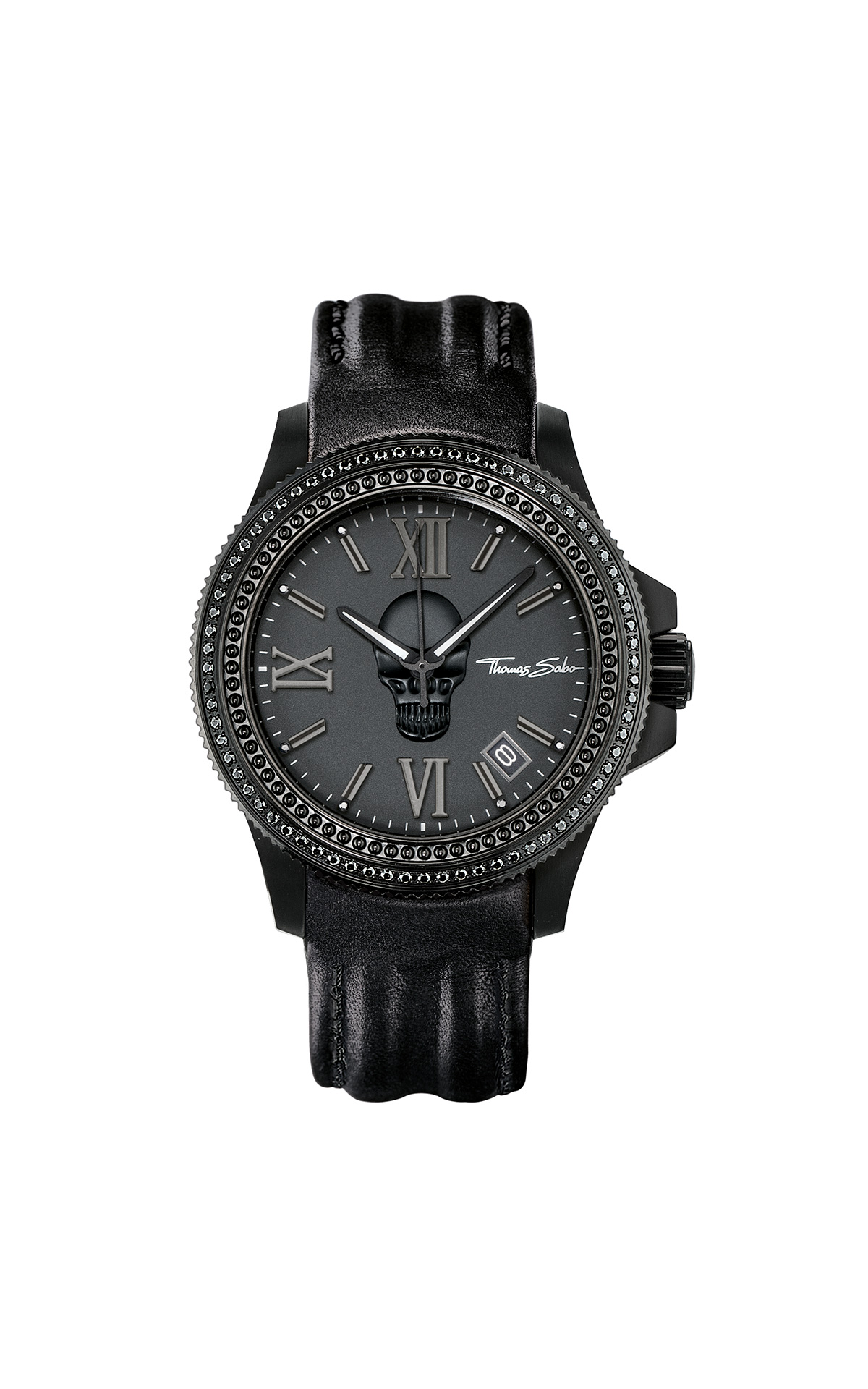 Black watch with skull Thomas Sabo