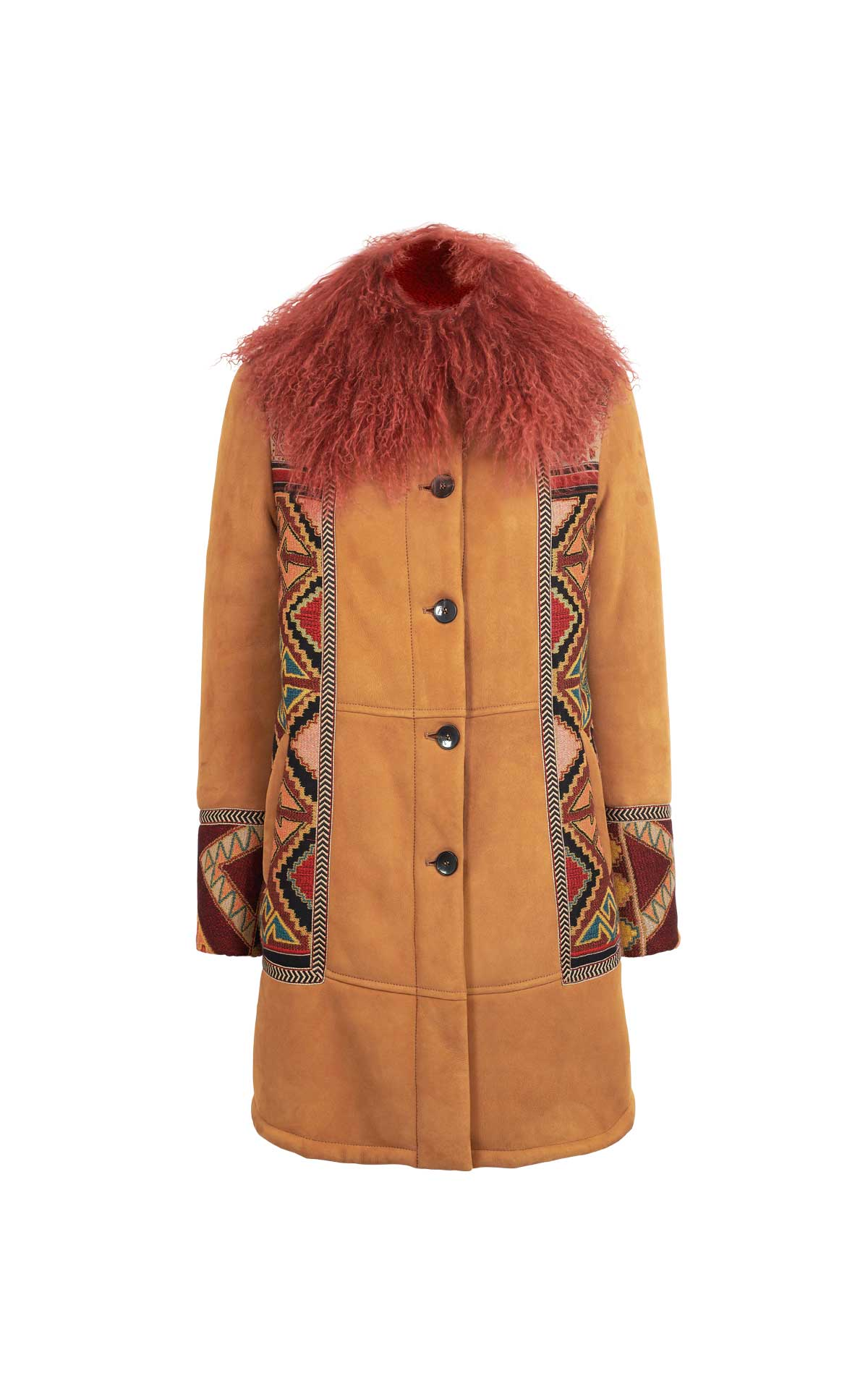 Brown embroidered coat Etro