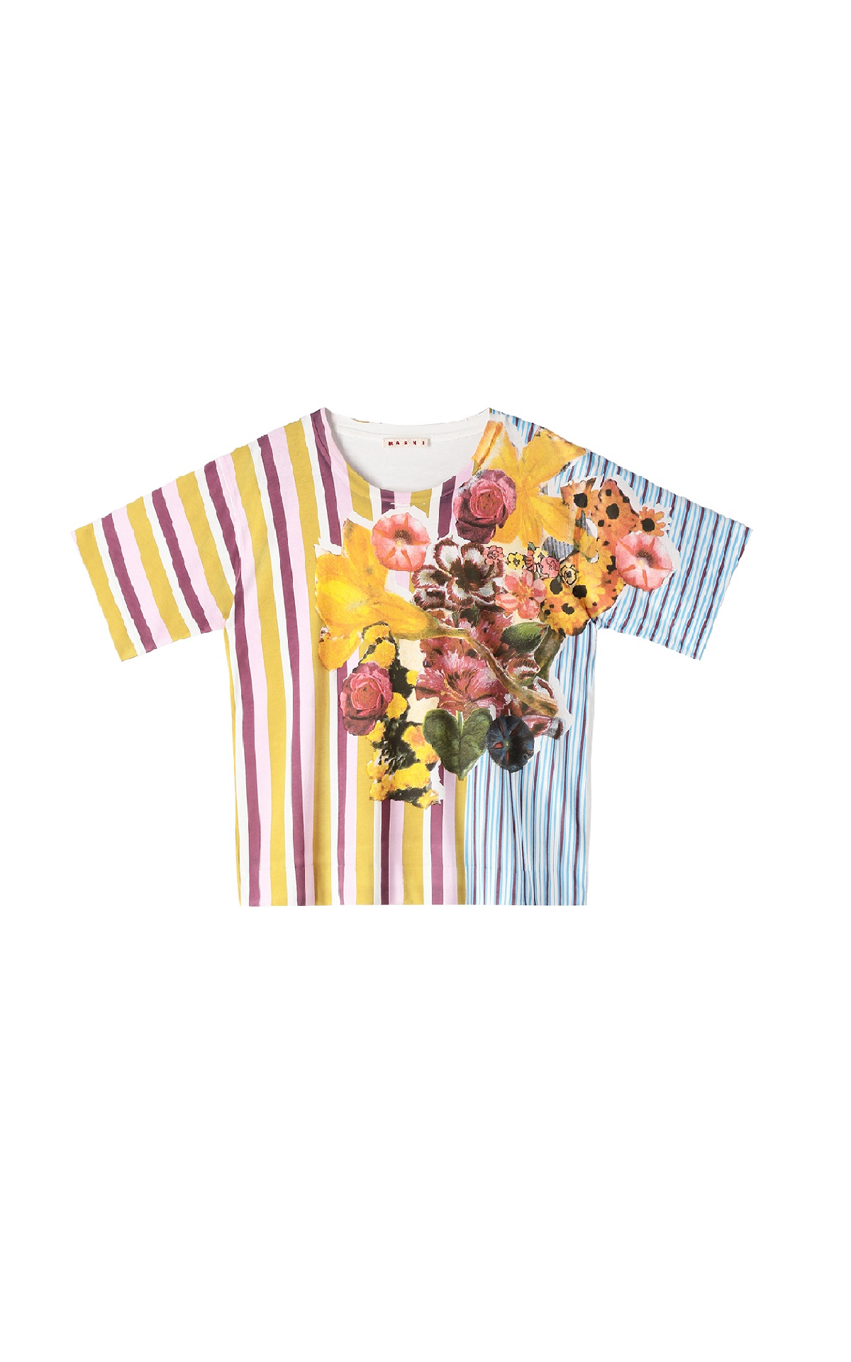 Printed T-shirt with stripes and flowers Marni
