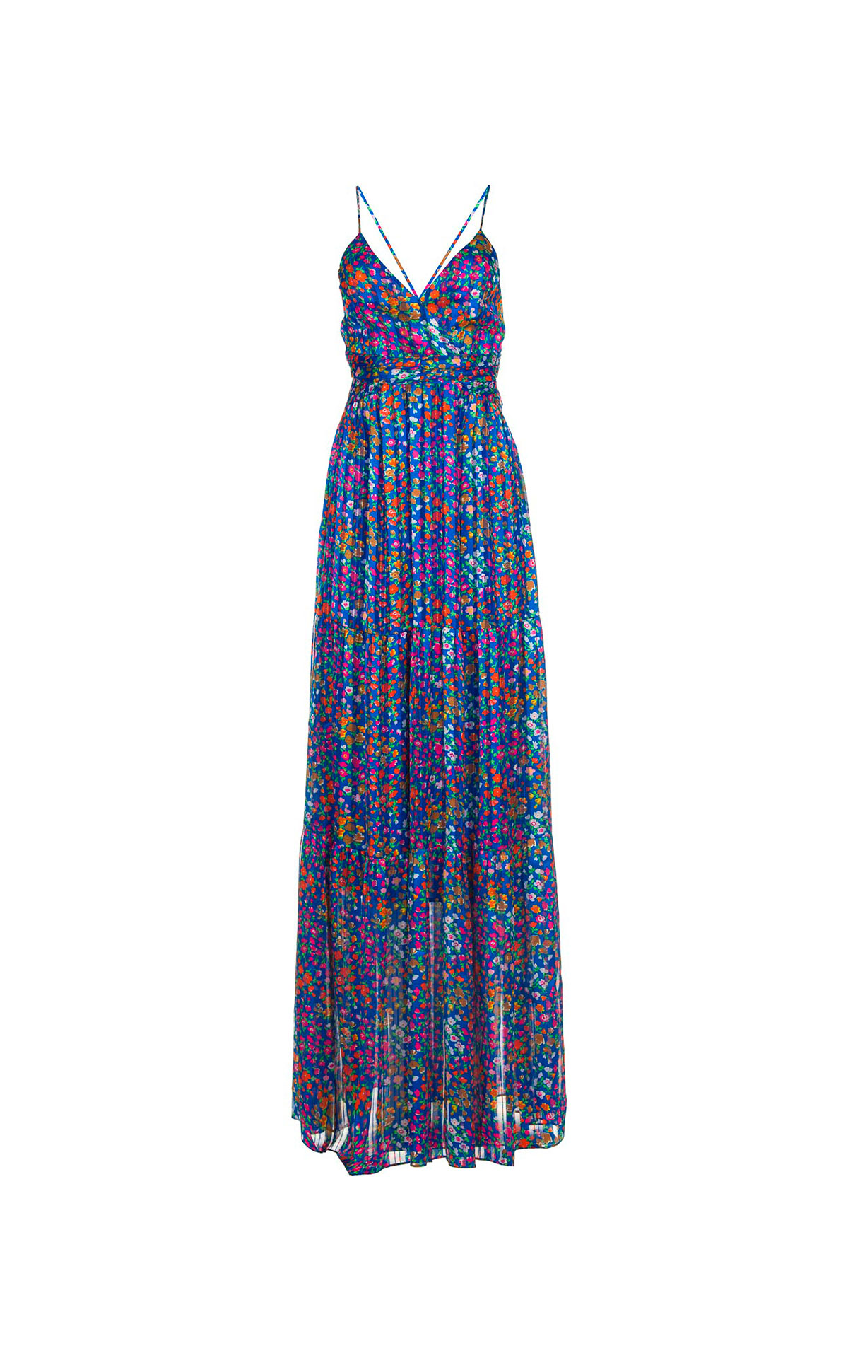 Blue long dress with flowers ba&sh