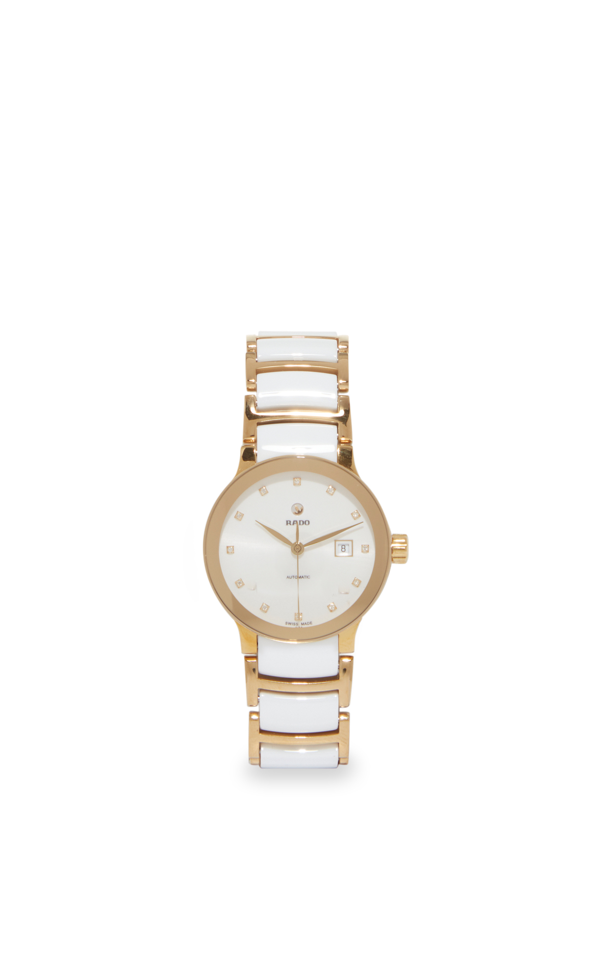 la vallée village RADO Centrix automatic white and gold watch