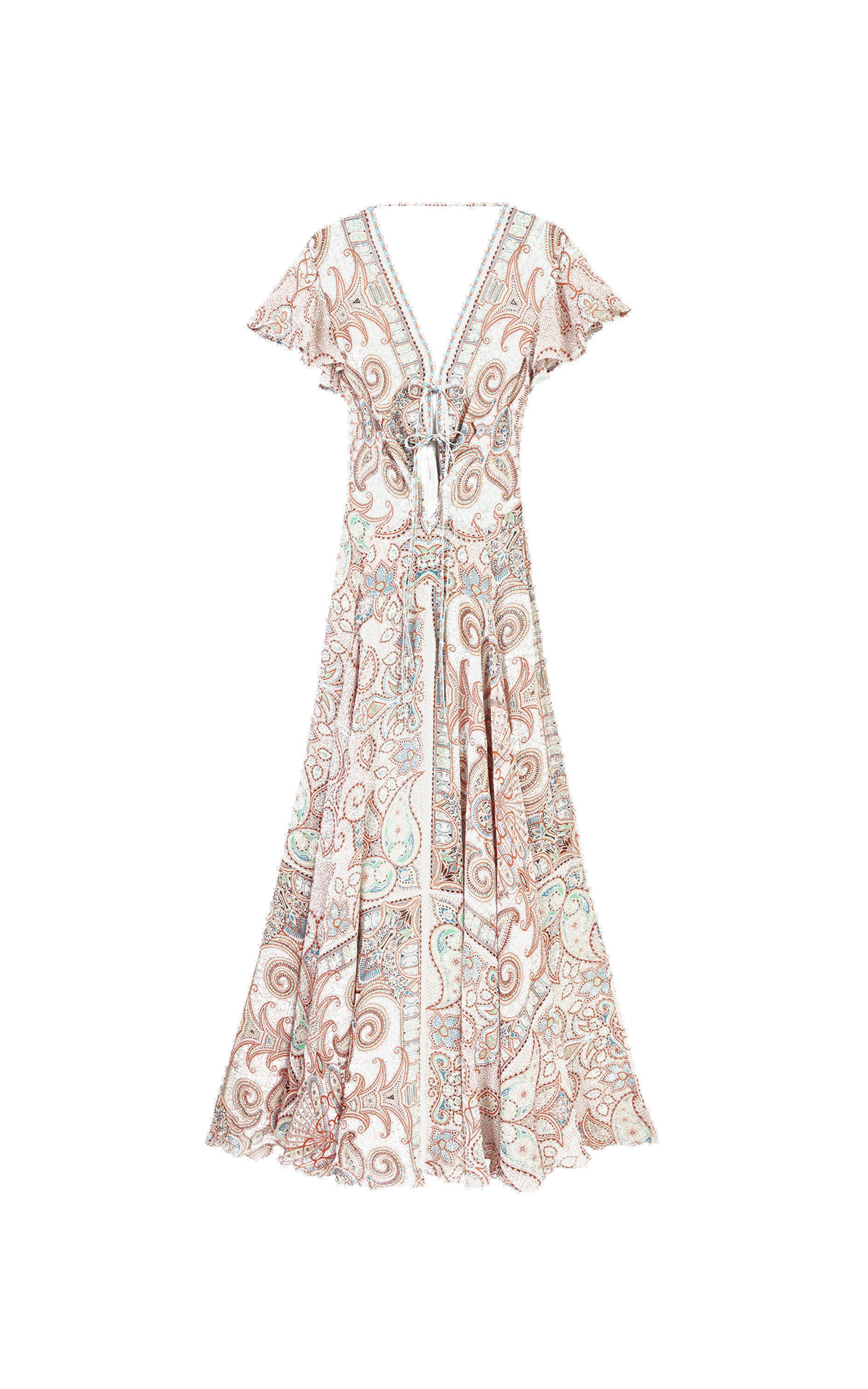 White and orange long printed paisley dress Etro