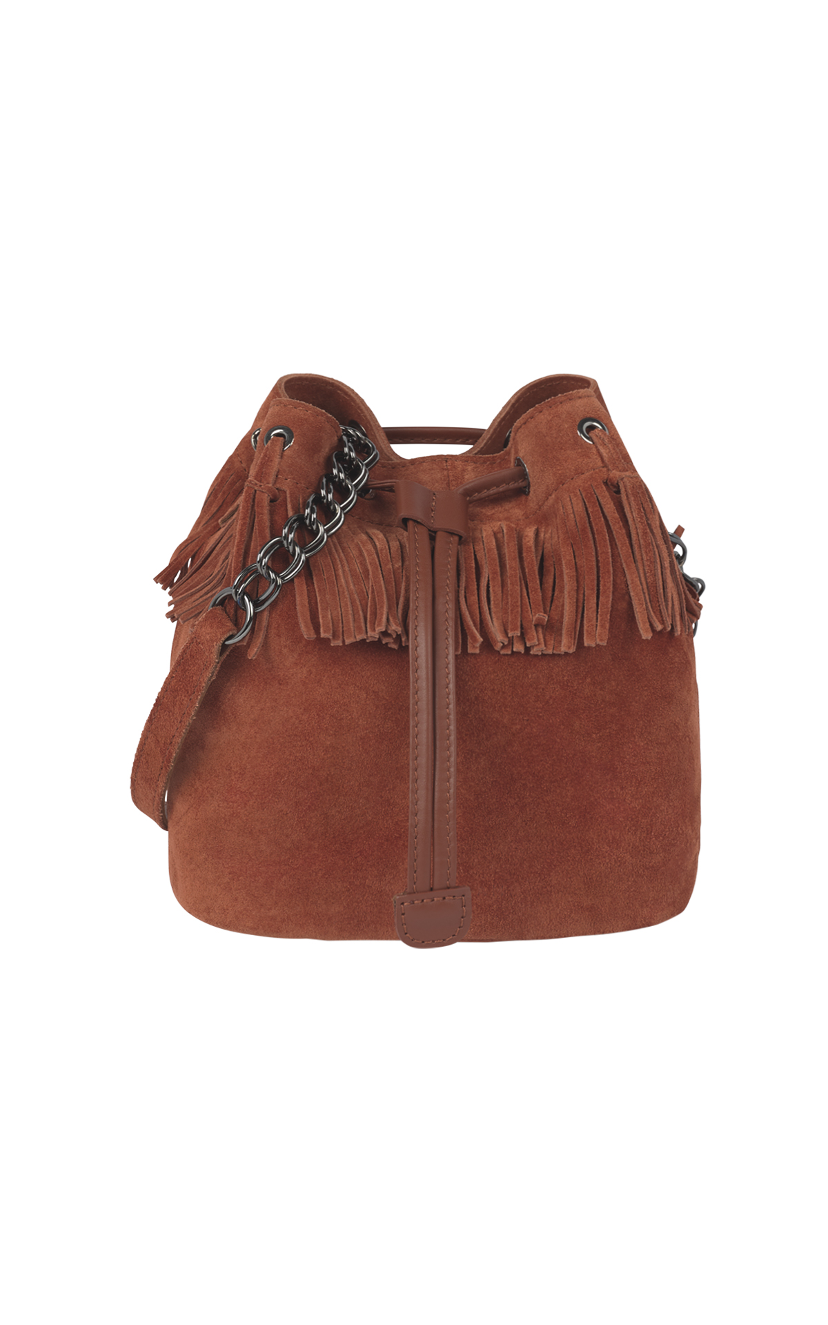 Brown fringed bucket bag Longhcamp