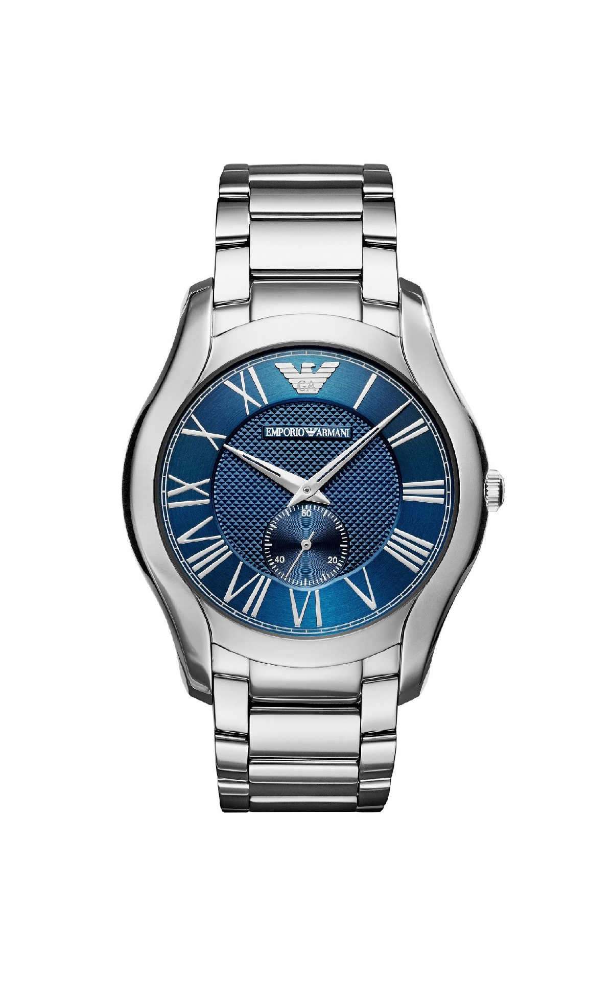 Silver watch with blue dial Armani