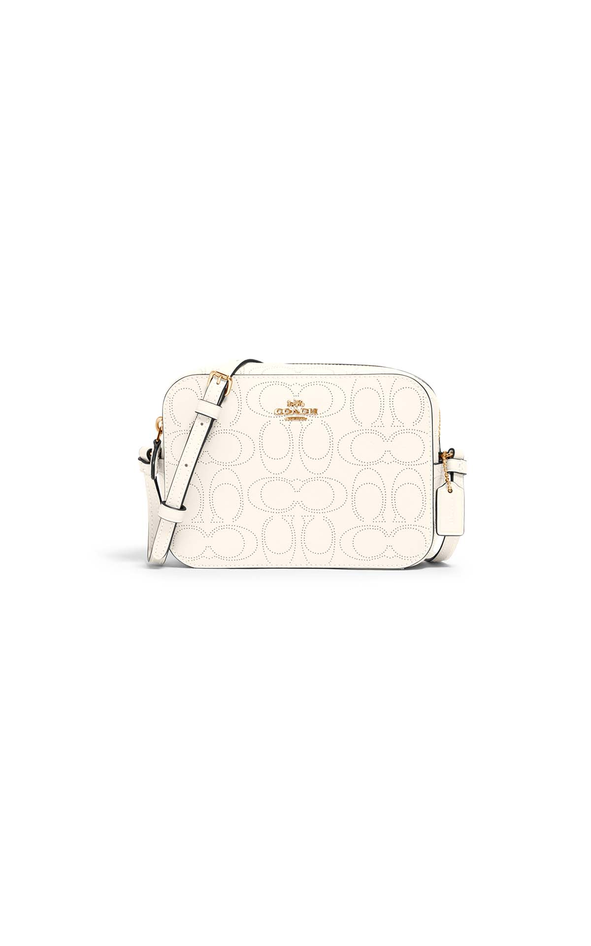 Coach Perforated mini camera bag in chalk at The Bicester Village Shopping Collection