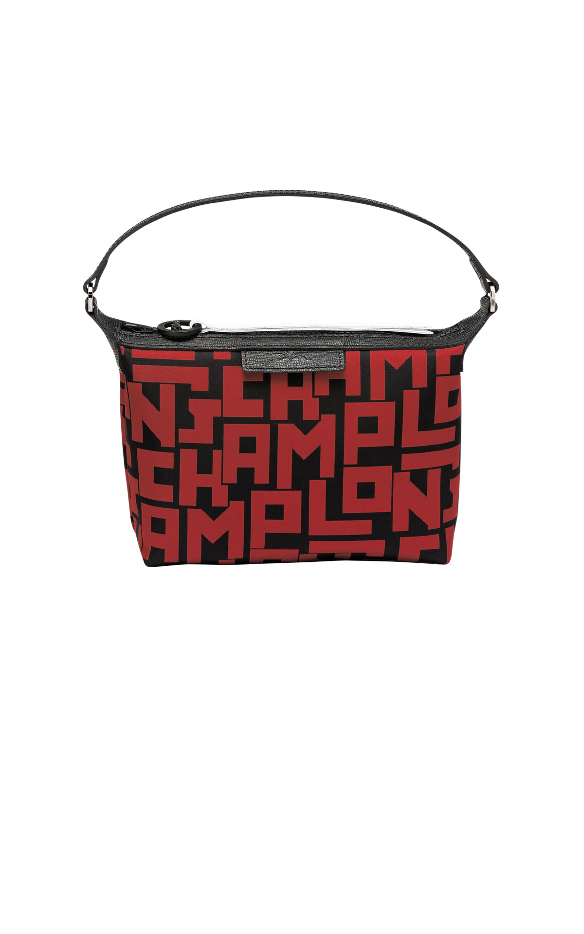 Small black bag with red letters Longchamp