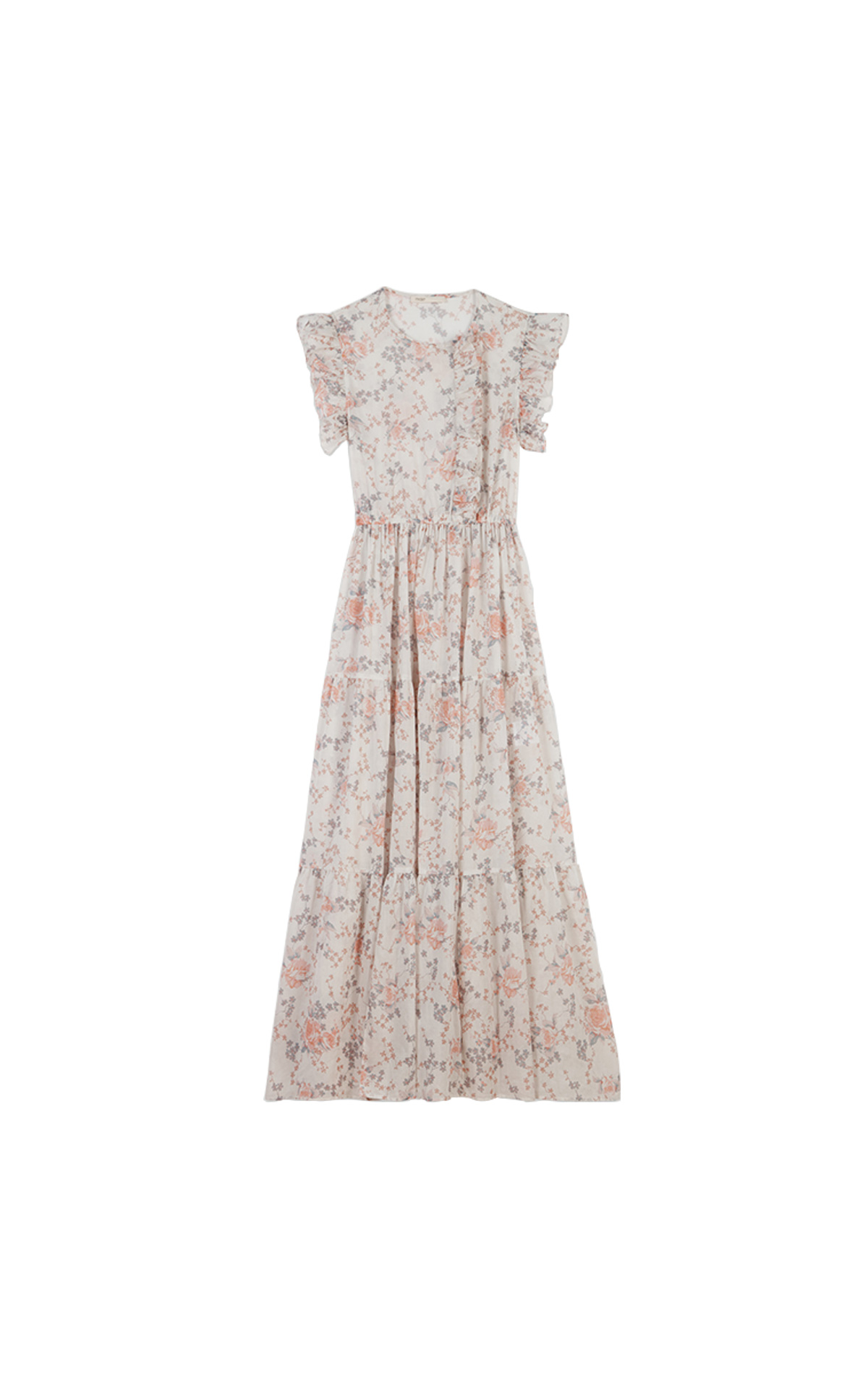 Maje Long floral-print ruffled dress at The Bicester VIllage Shopping Collection