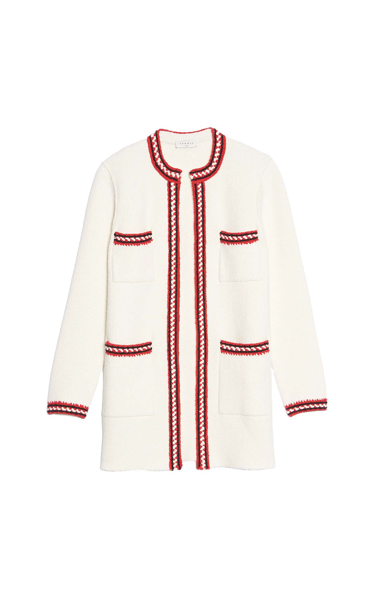 Long-sleeved white and red cardigan for woman Sandro