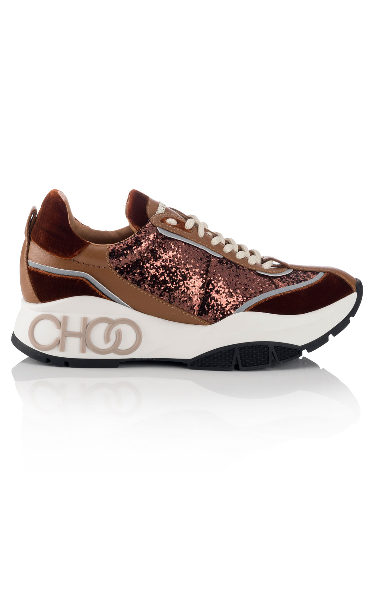 Jimmy Choo Raine rust mix velvet trainer