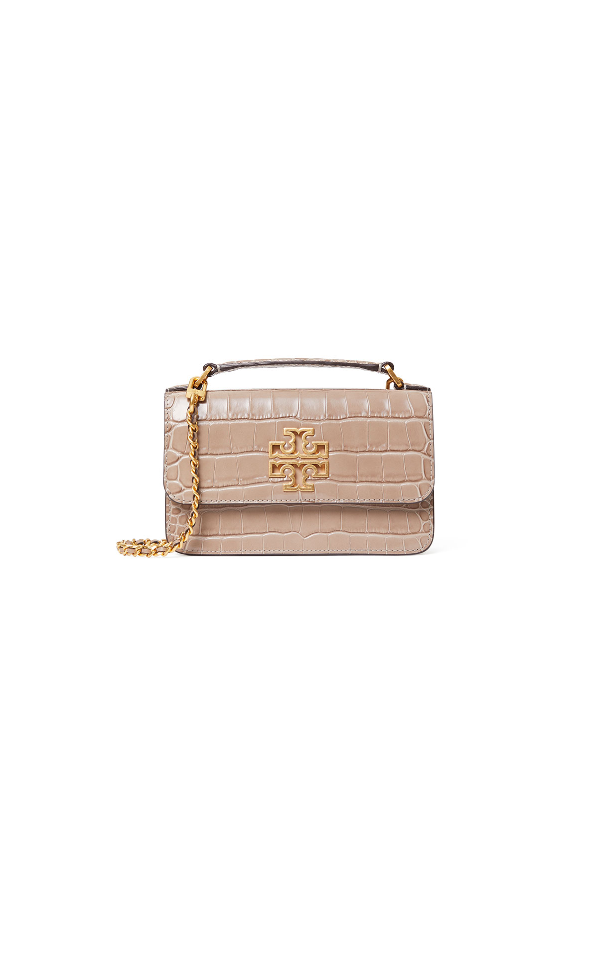 Tory Burch Britten croc mini top handle bag in Elk at The Bicester Village Shopping Collection