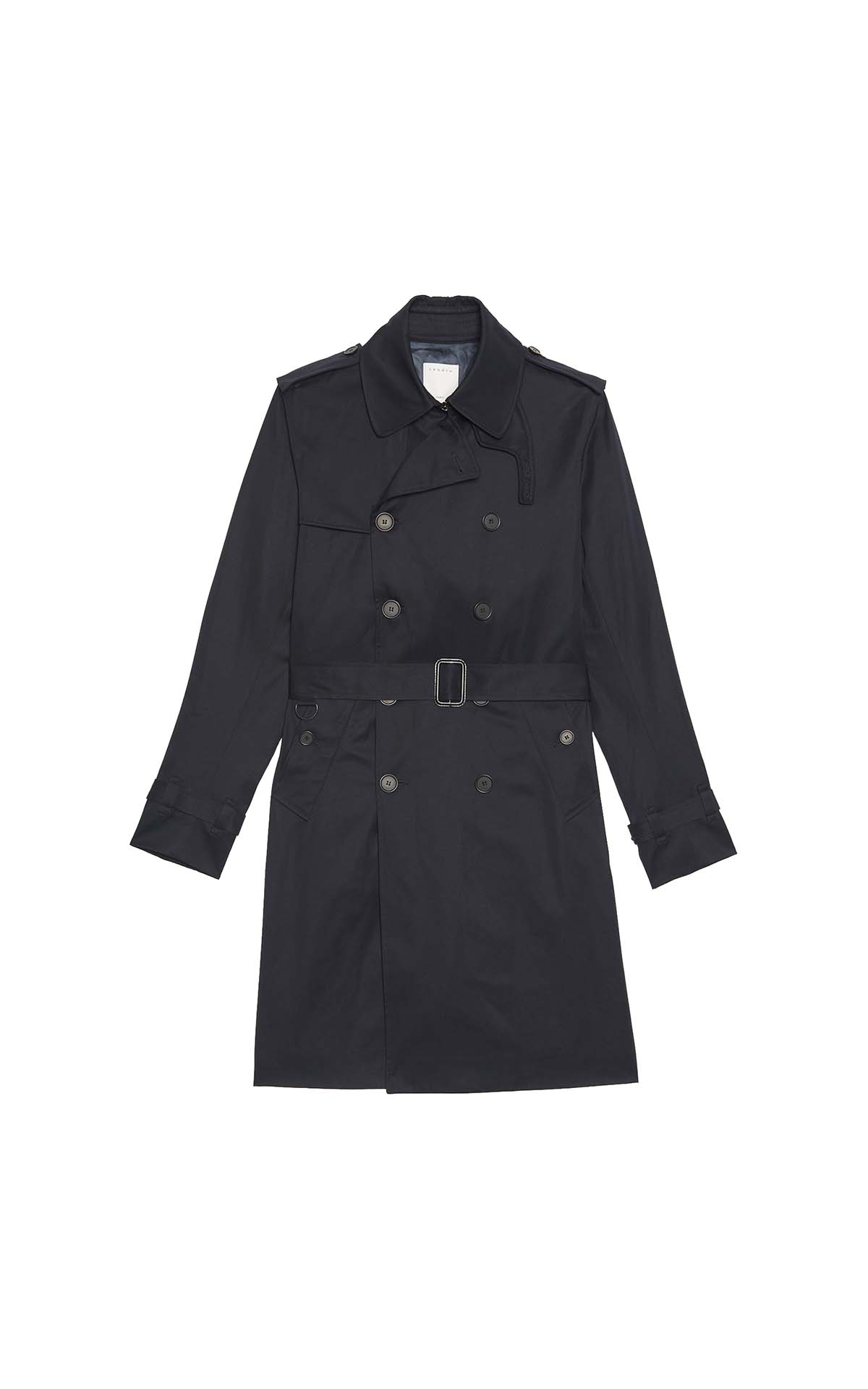 Sandro Navy coat at The Bicester Village Shopping Collection