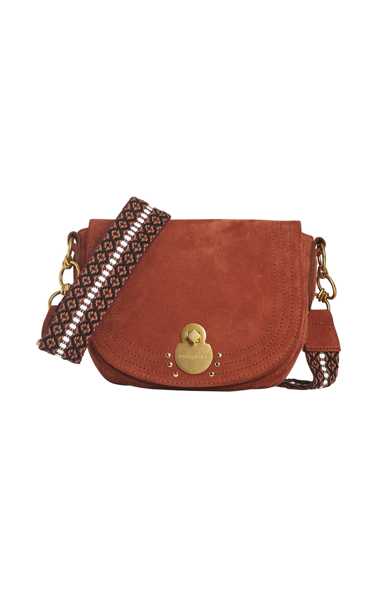 Brown velvet shoulder bag Longchamp