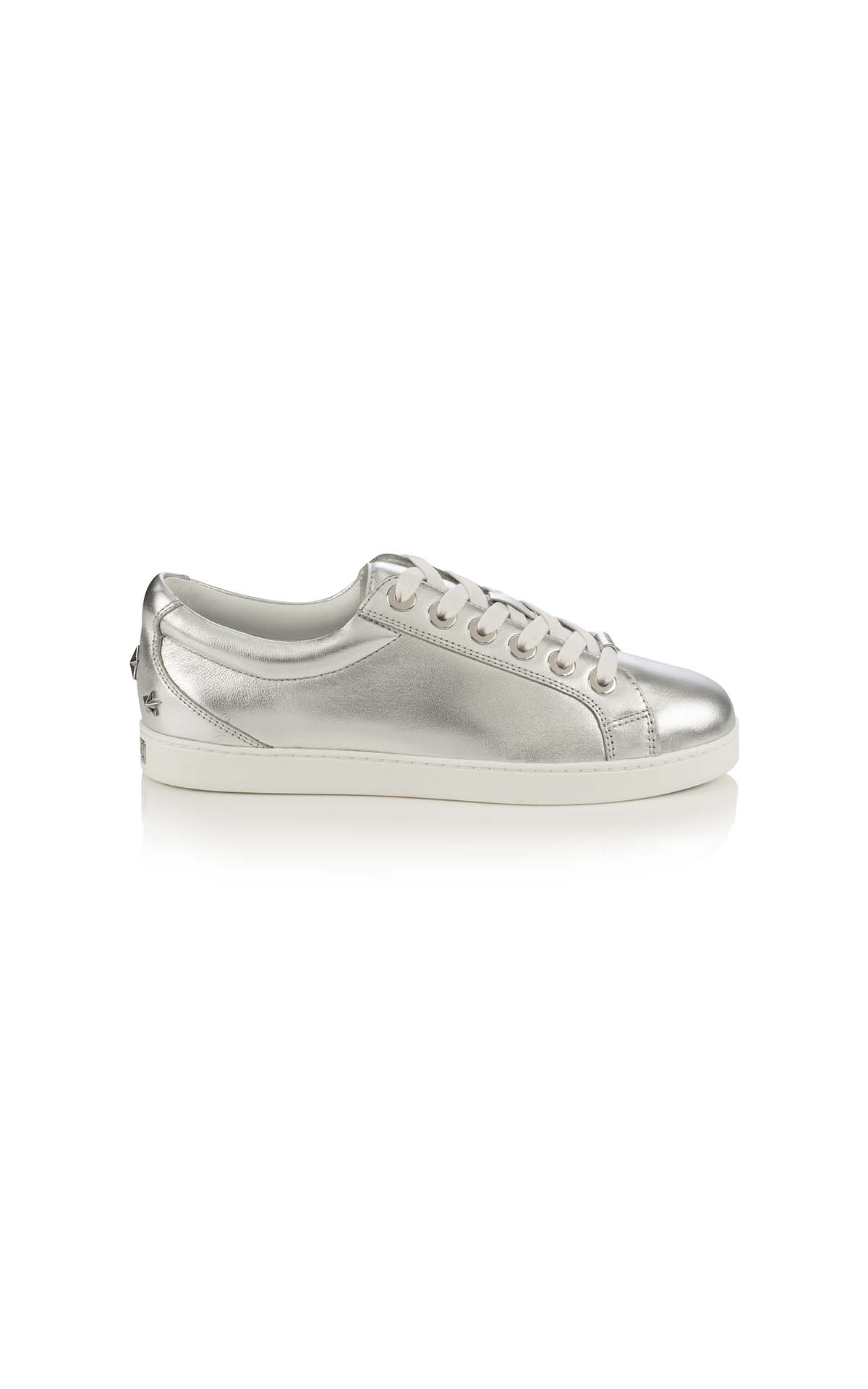 Jimmy Choo Cash F metallic nappa silver at The Bicester Village Shopping Collection