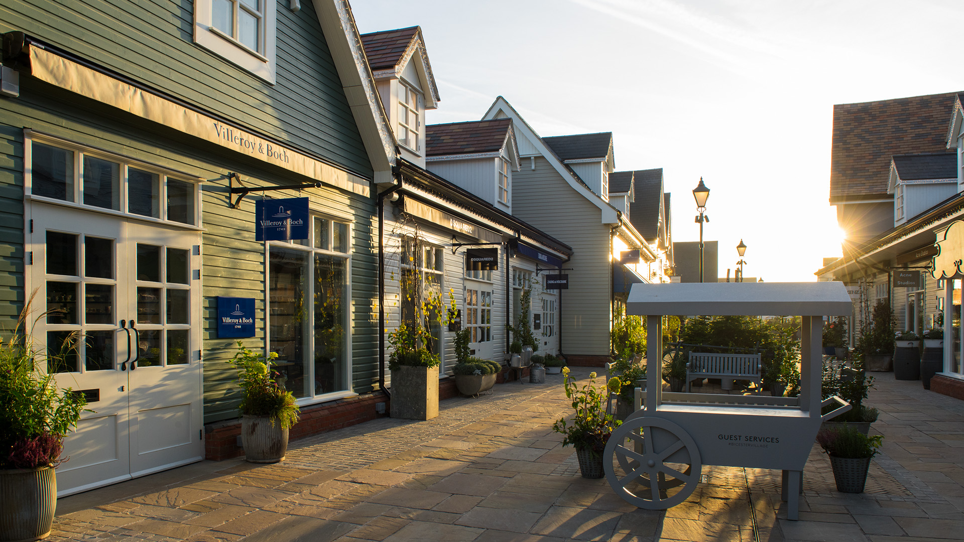 Sunrise in an empty Bicester Village