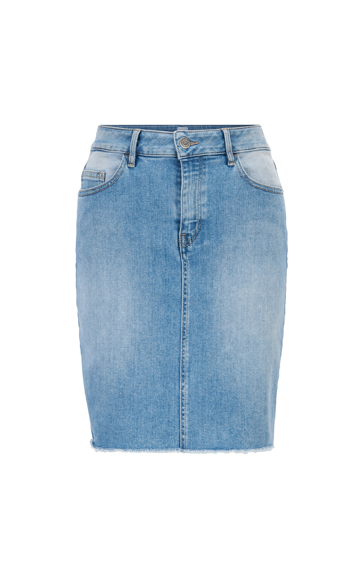 BOSS J90 Sunnyvale Denim mini skirt with open hem at The Bicester Village Shopping Collection