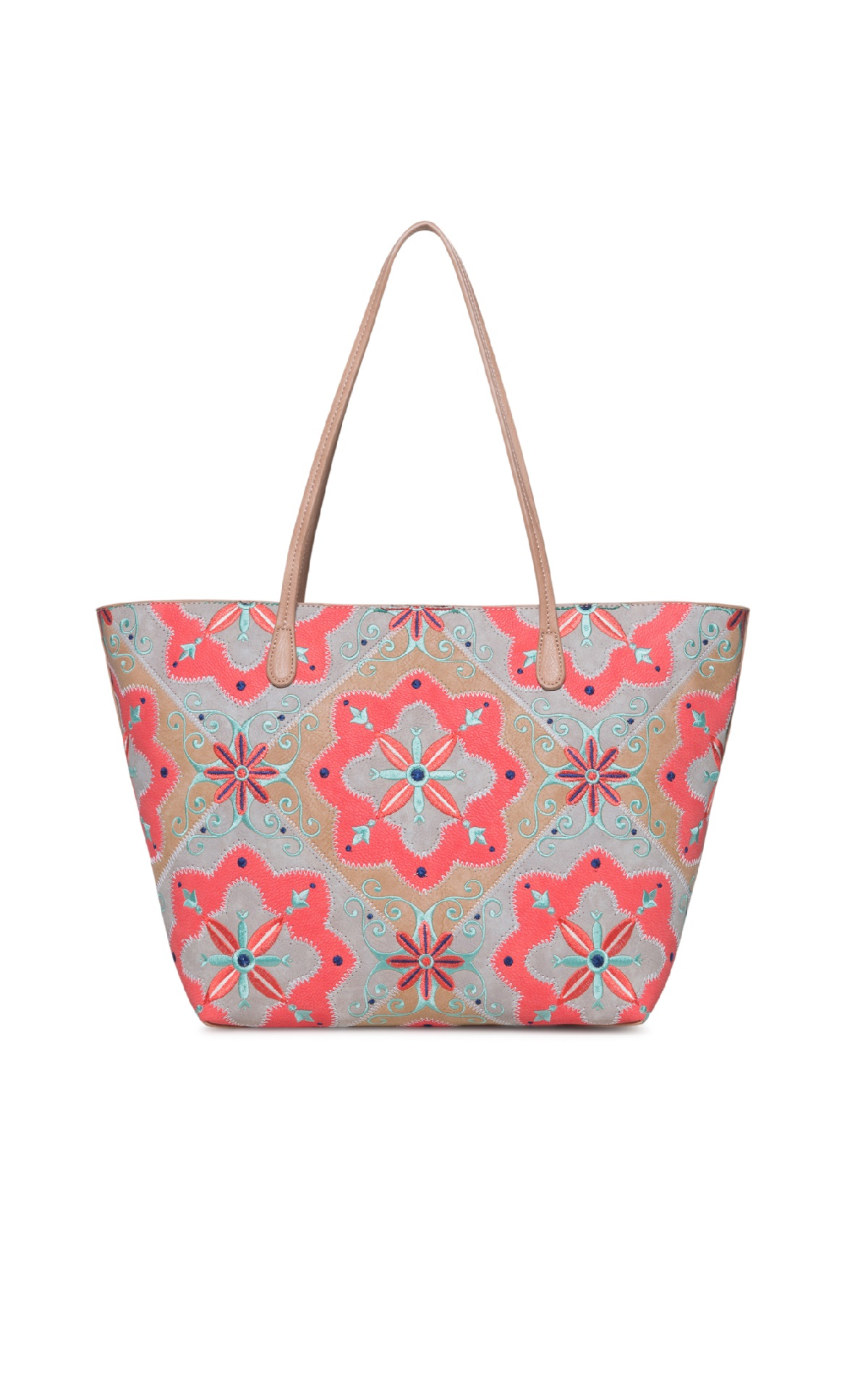 Grey and orange tote bag Desigual