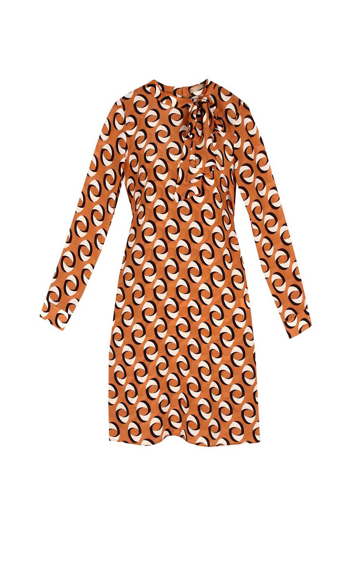 Large print orange dress Dolores Promesas