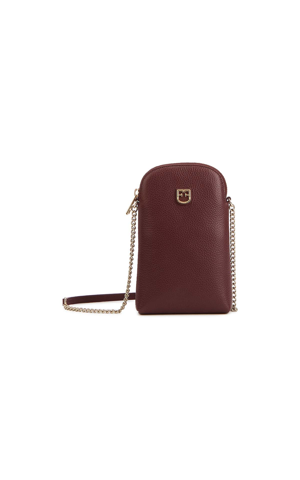 Furla joy small phoneholder bag burgundy at The Bicester Village Shopping Collection