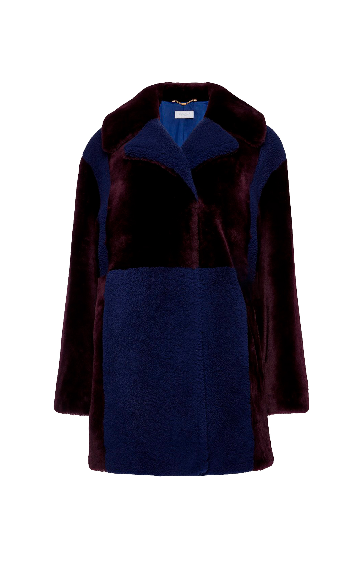 Blue and burgundy fur coat Escada